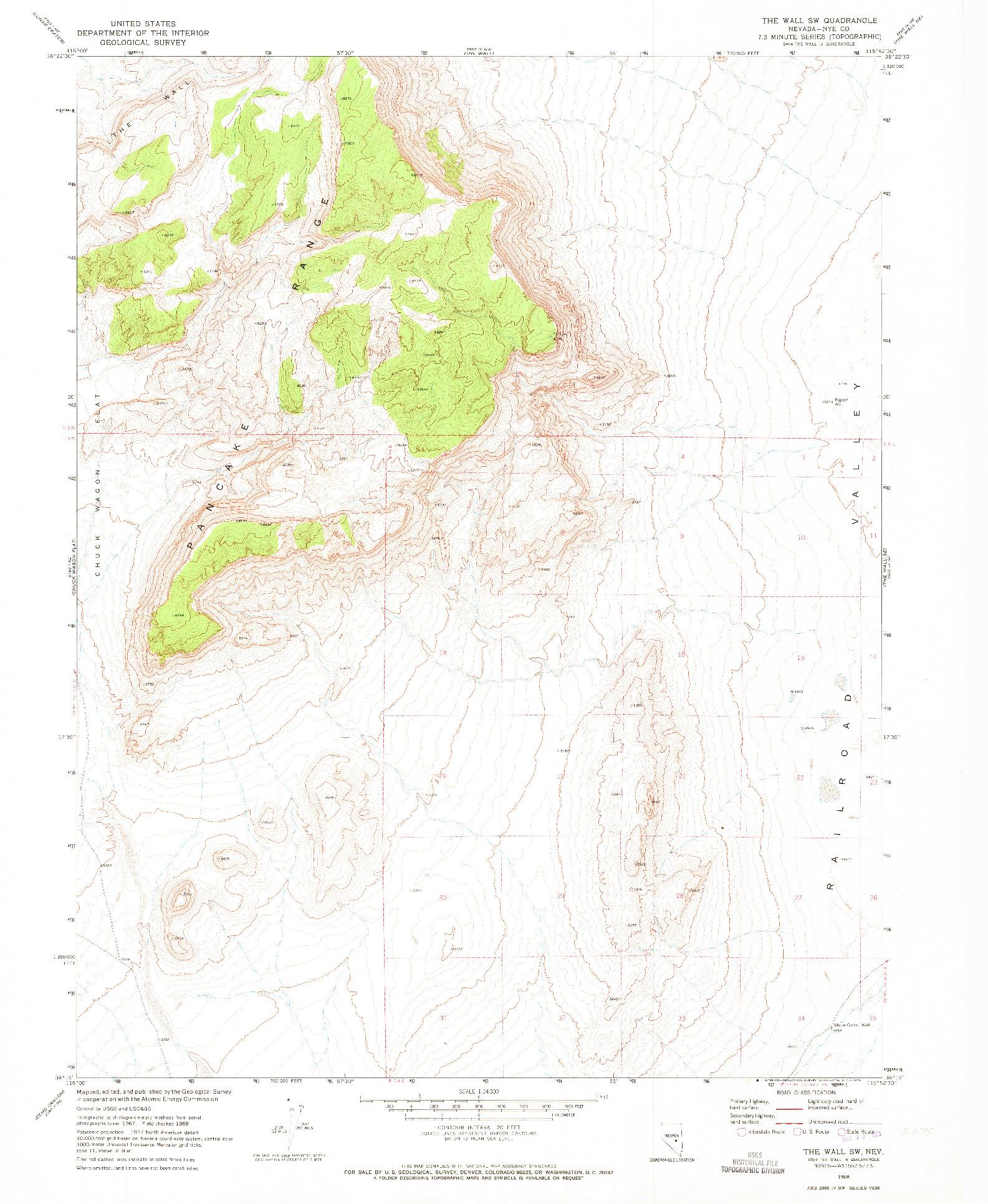 USGS 1:24000-SCALE QUADRANGLE FOR THE WALL SW, NV 1968