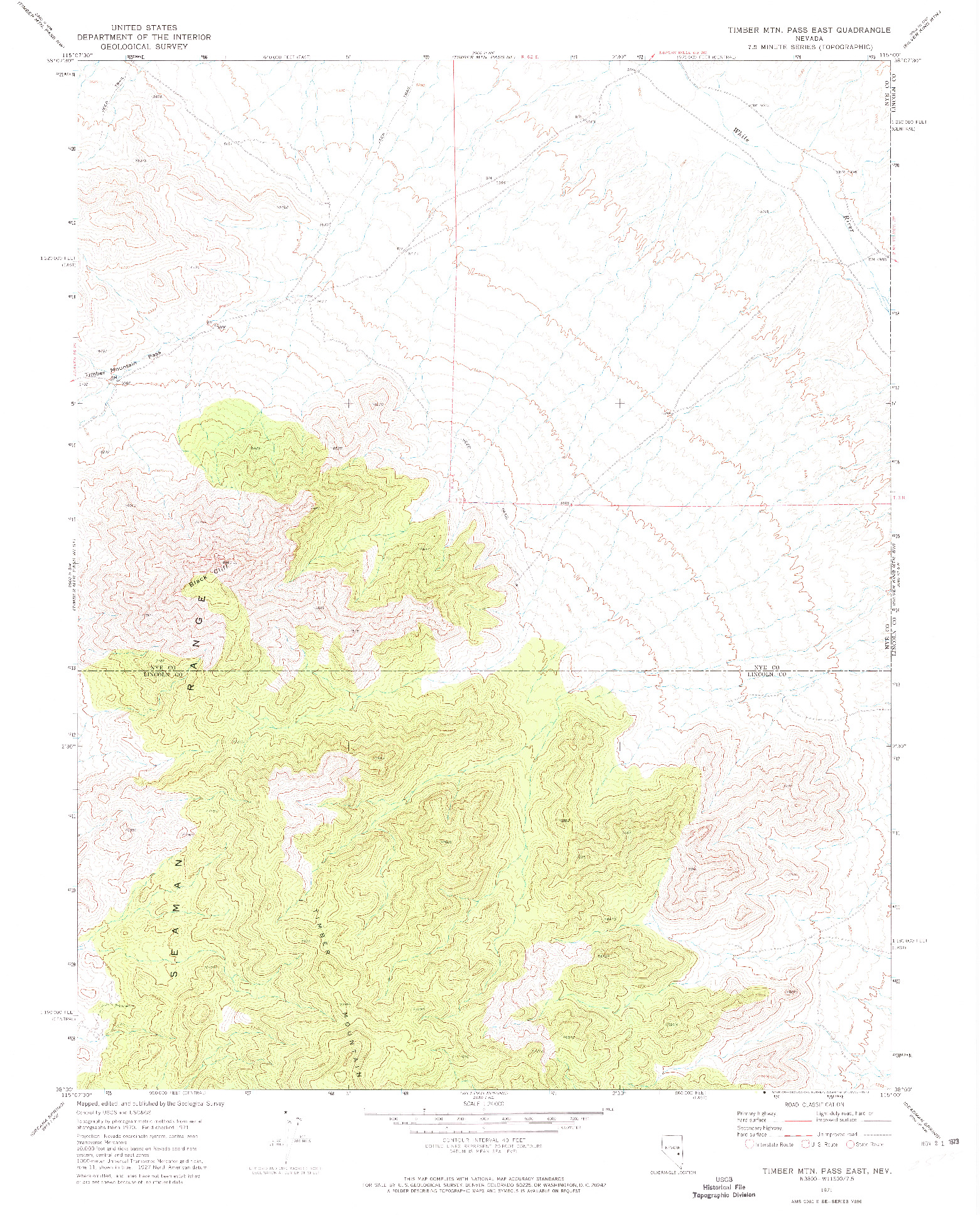 USGS 1:24000-SCALE QUADRANGLE FOR TIMBER MTN PASS EAST, NV 1971