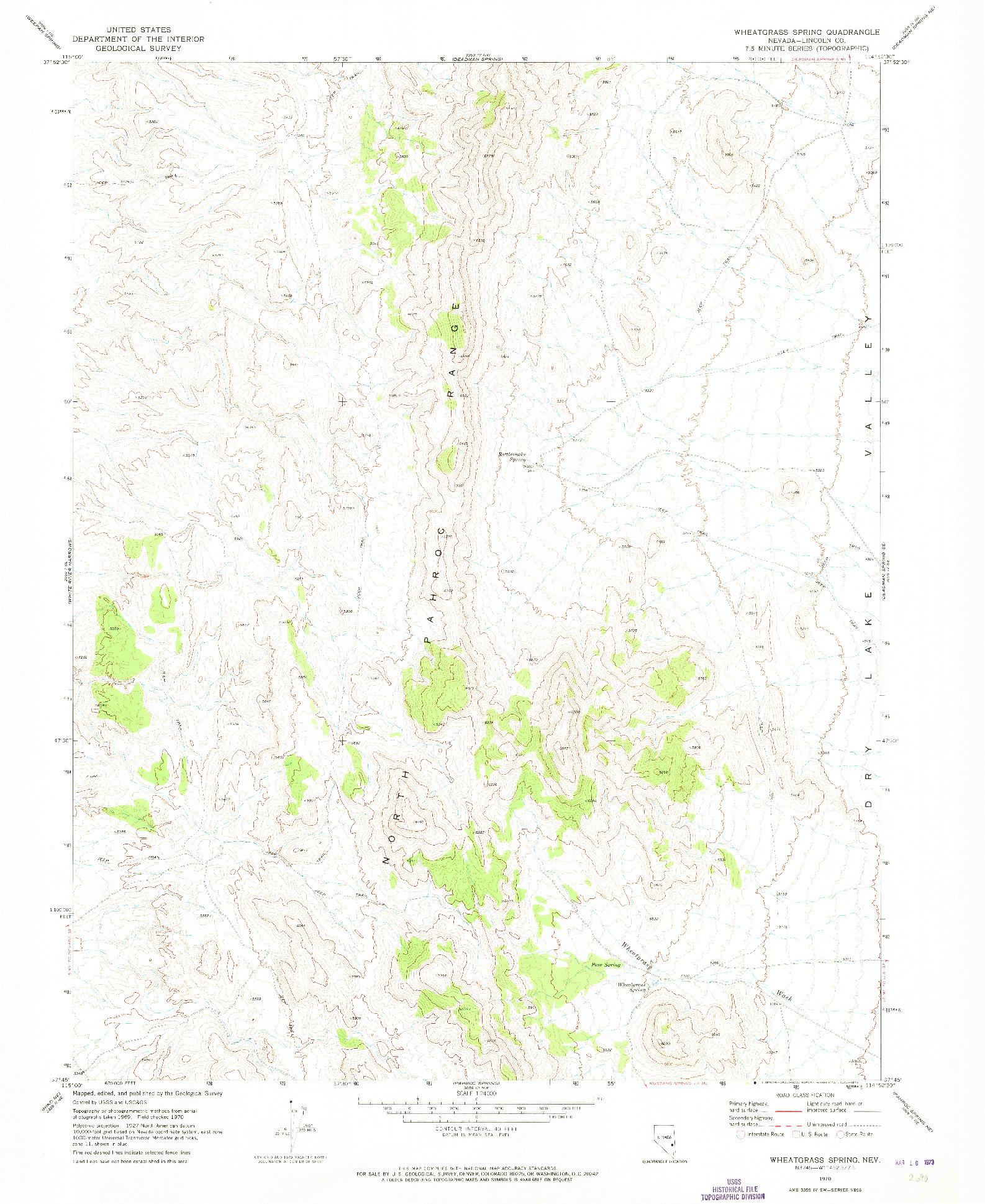 USGS 1:24000-SCALE QUADRANGLE FOR WHEATGRASS SPRING, NV 1970