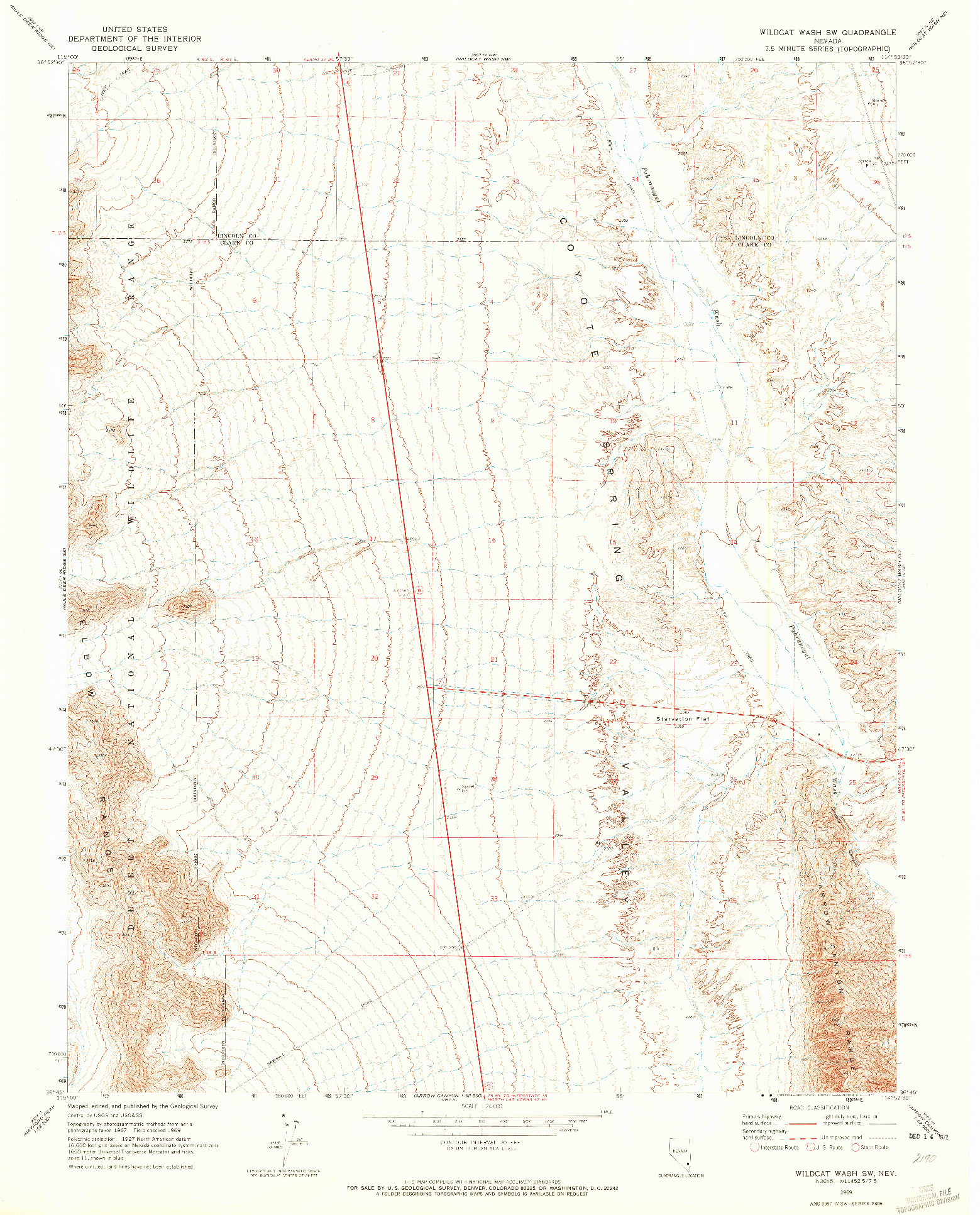 USGS 1:24000-SCALE QUADRANGLE FOR WILDCAT WASH SW, NV 1969