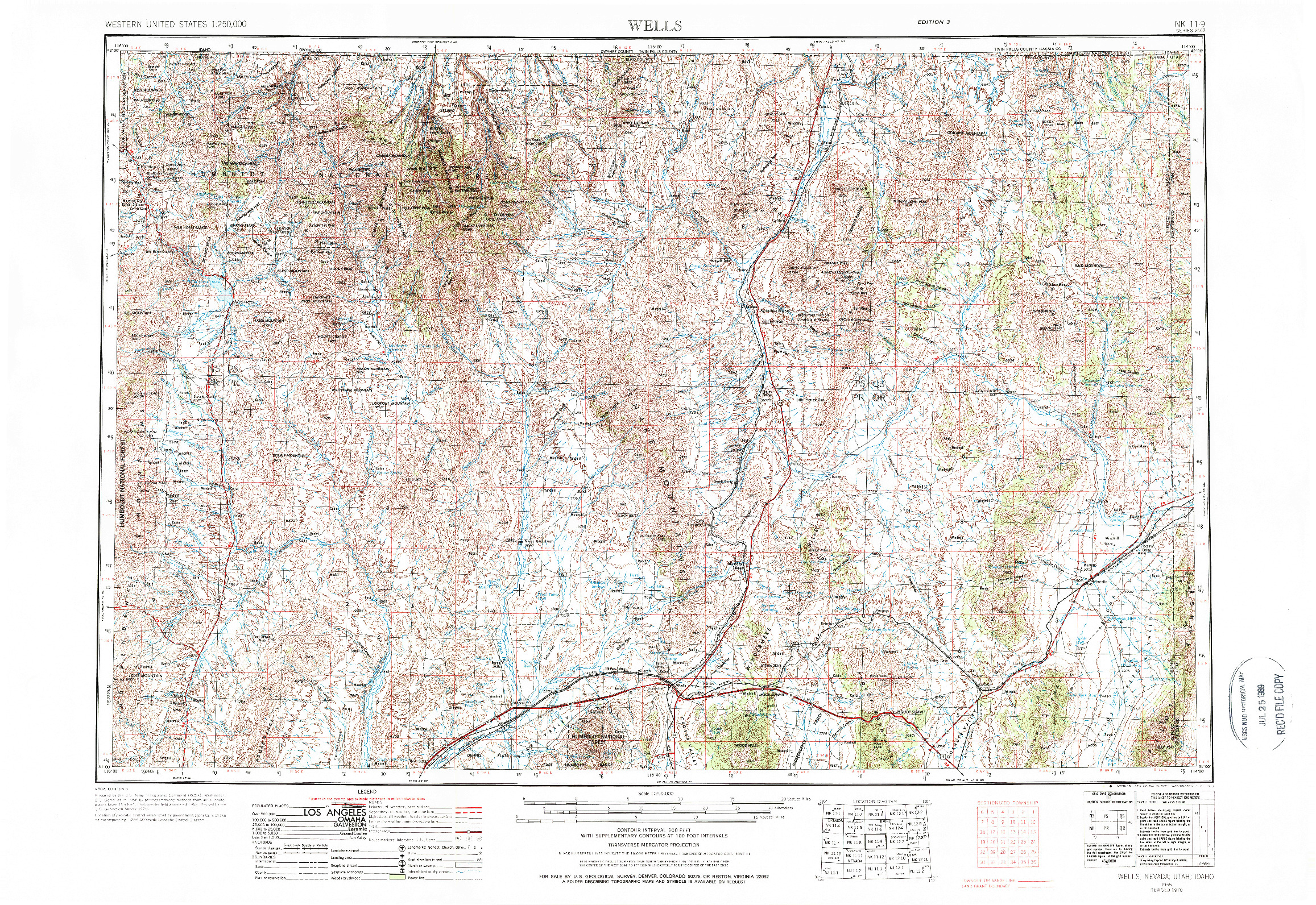 USGS 1:250000-SCALE QUADRANGLE FOR WELLS, NV 1955