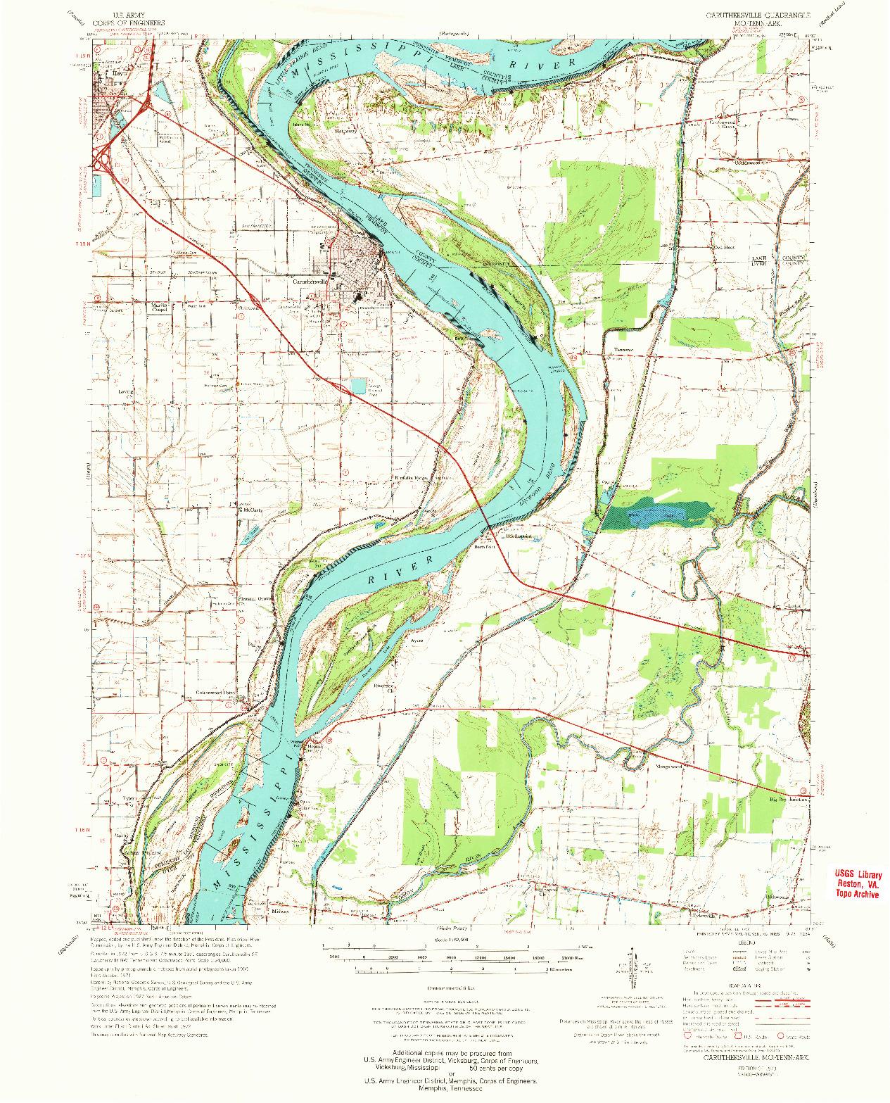 USGS 1:62500-SCALE QUADRANGLE FOR CARUTHERSVILLE, MO 1973