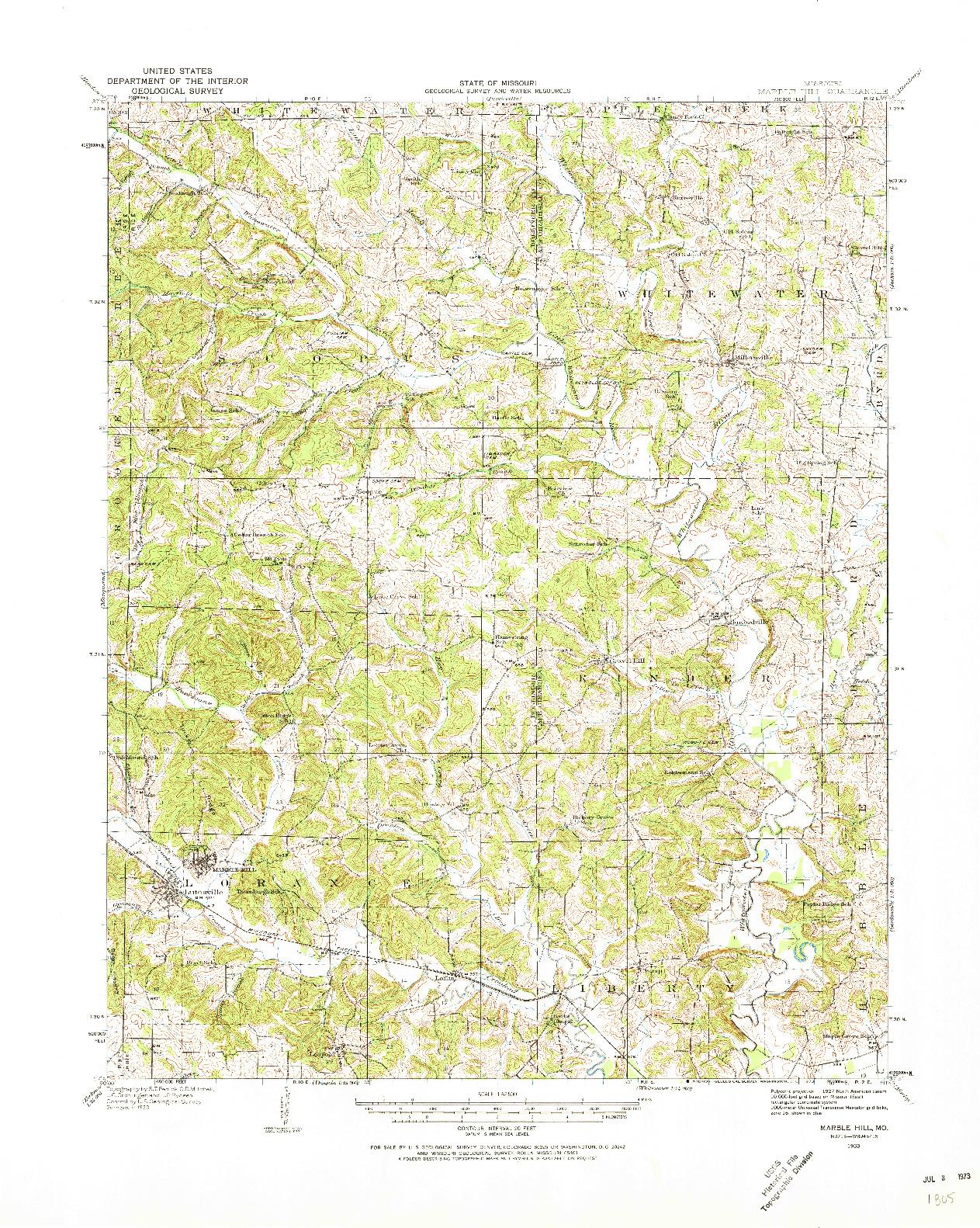 USGS 1:62500-SCALE QUADRANGLE FOR MARBLE HILL, MO 1933
