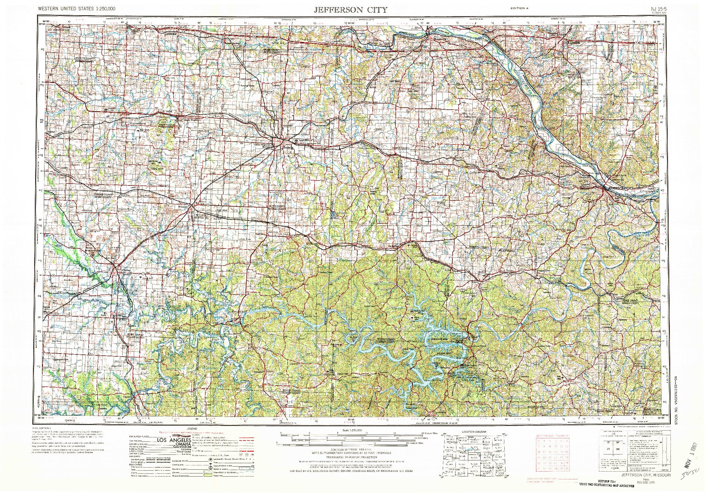 USGS 1:250000-SCALE QUADRANGLE FOR JEFFERSON CITY, MO 1955