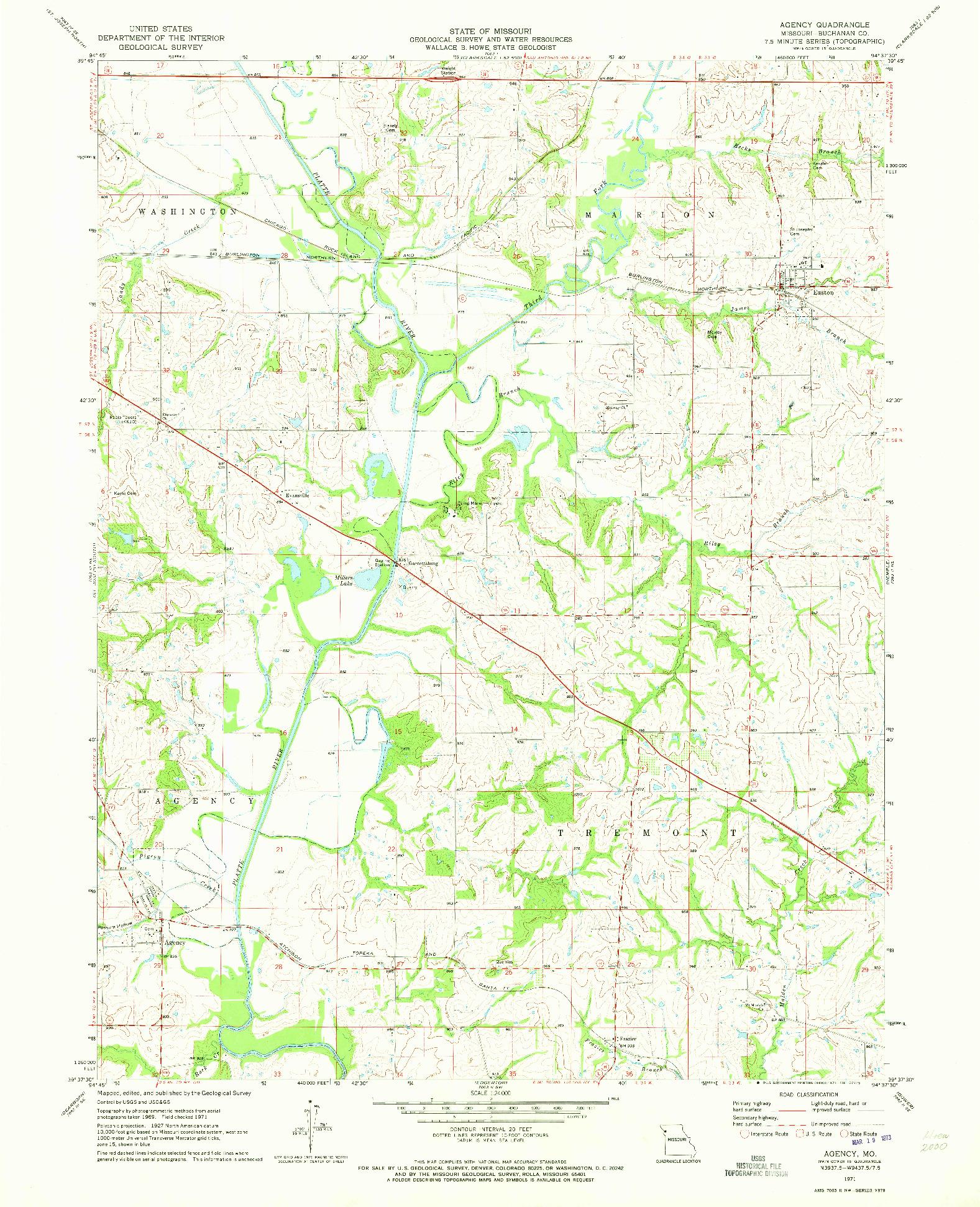 USGS 1:24000-SCALE QUADRANGLE FOR AGENCY, MO 1971