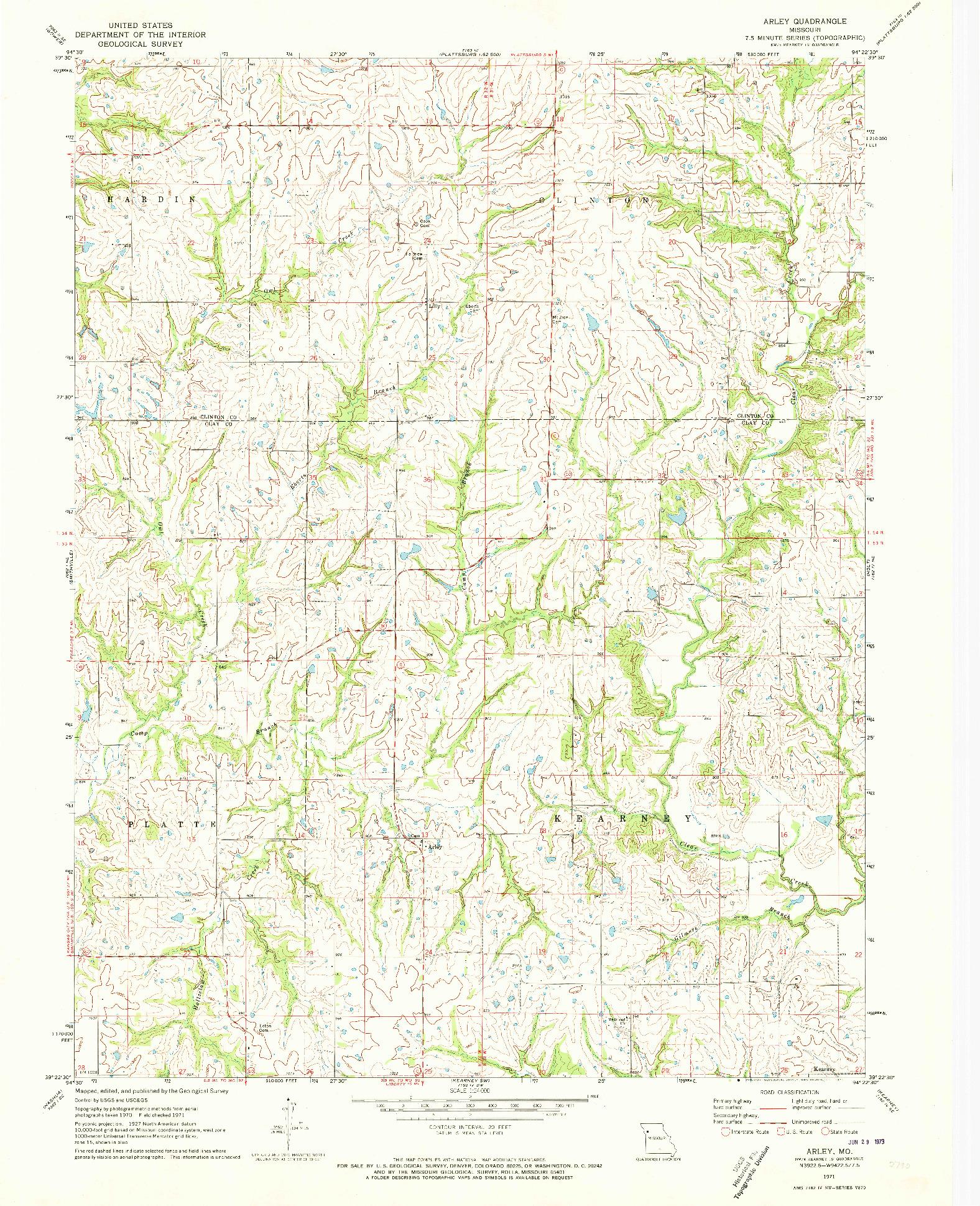 USGS 1:24000-SCALE QUADRANGLE FOR ARLEY, MO 1971