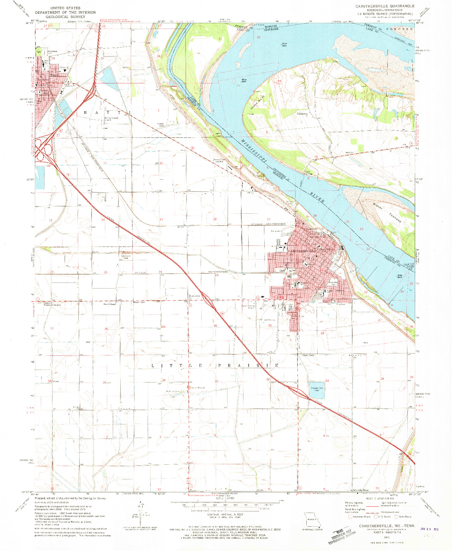 USGS 1:24000-SCALE QUADRANGLE FOR CARUTHERSVILLE, MO 1971