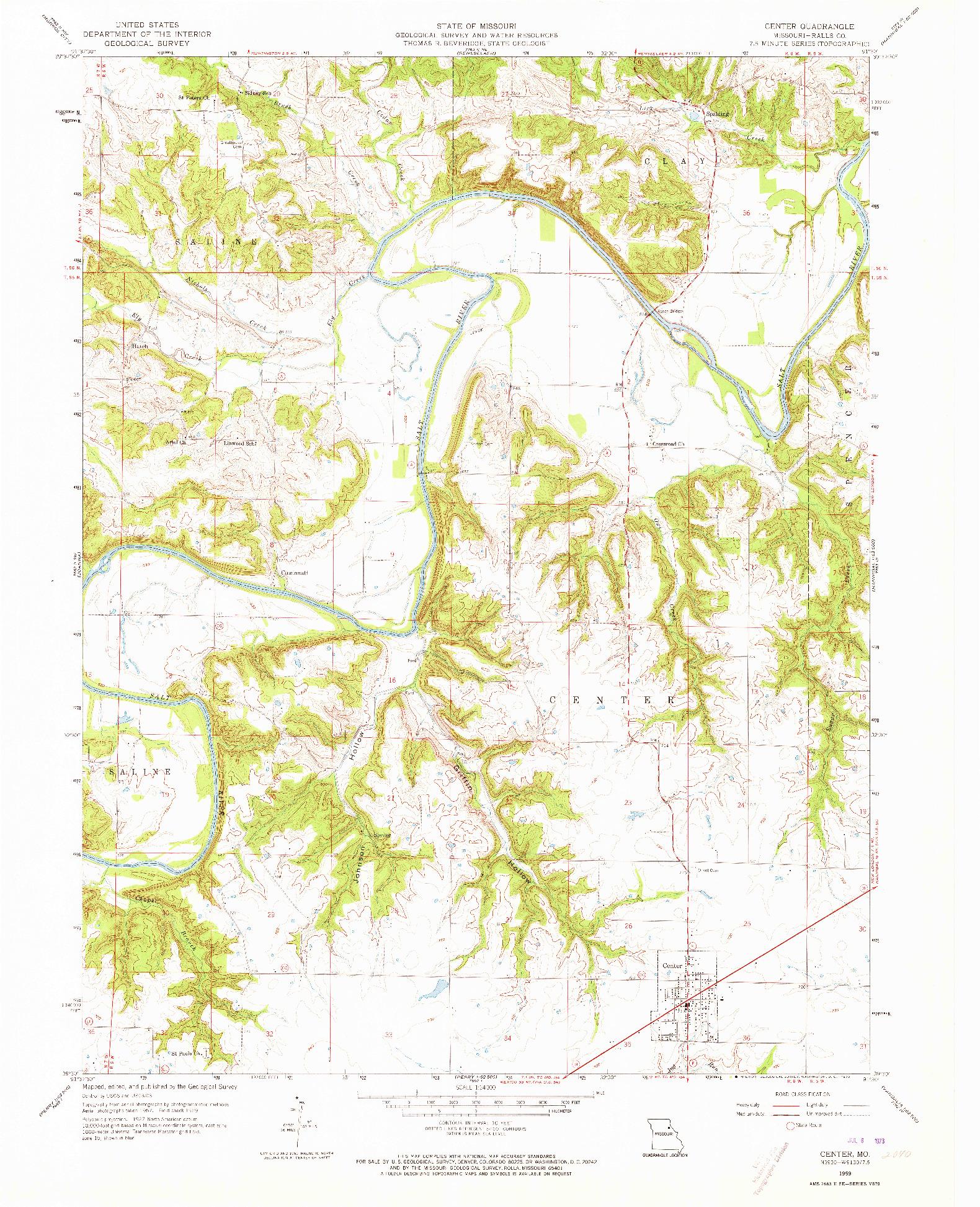 USGS 1:24000-SCALE QUADRANGLE FOR CENTER, MO 1959