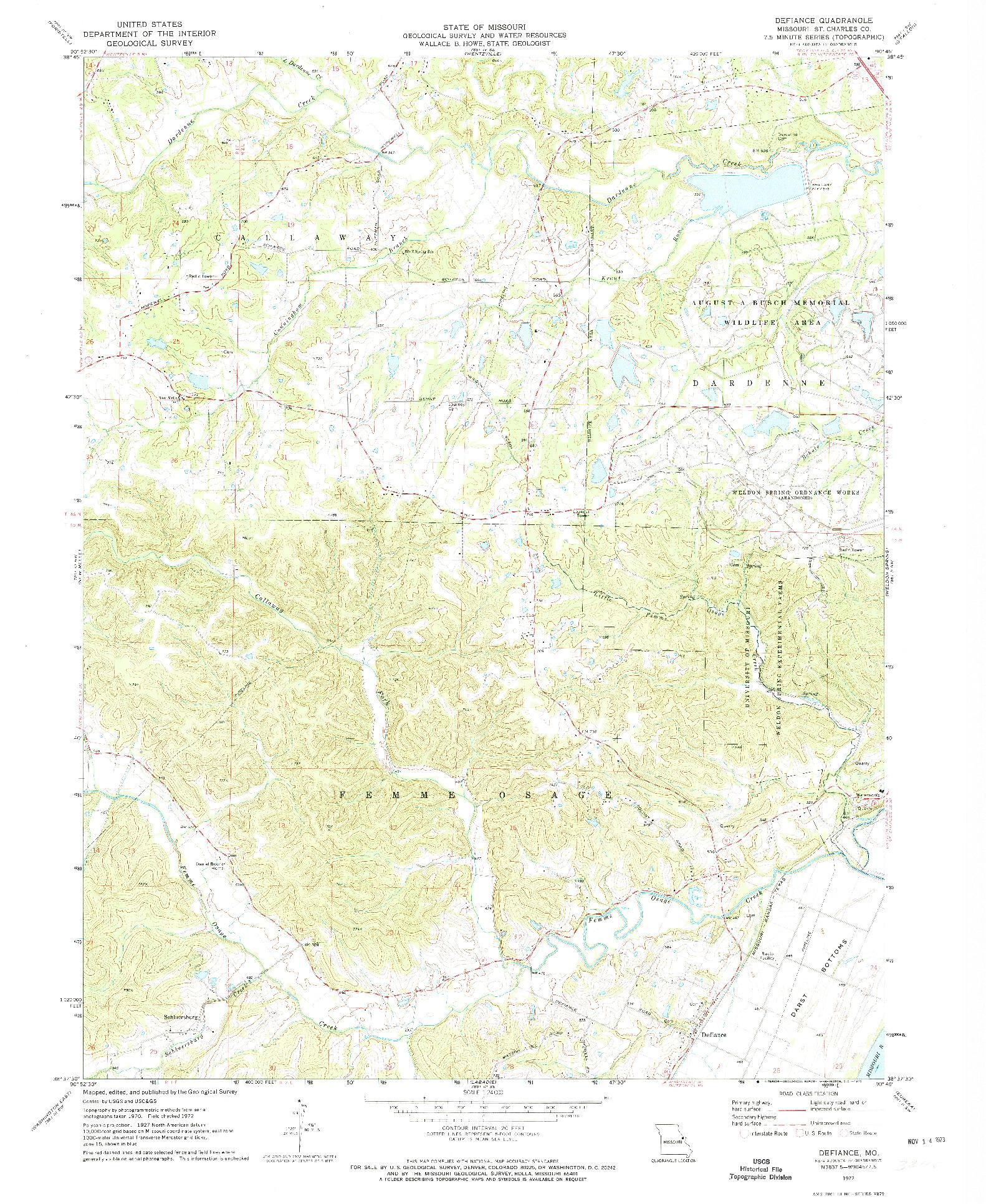 USGS 1:24000-SCALE QUADRANGLE FOR DEFIANCE, MO 1972
