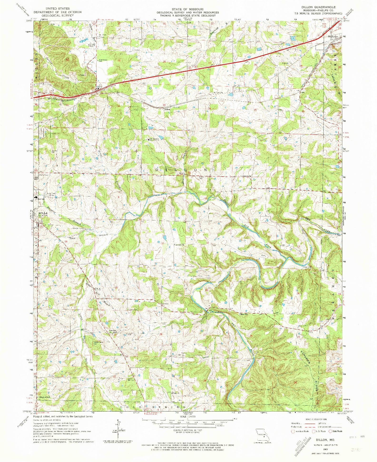 USGS 1:24000-SCALE QUADRANGLE FOR DILLON, MO 1963