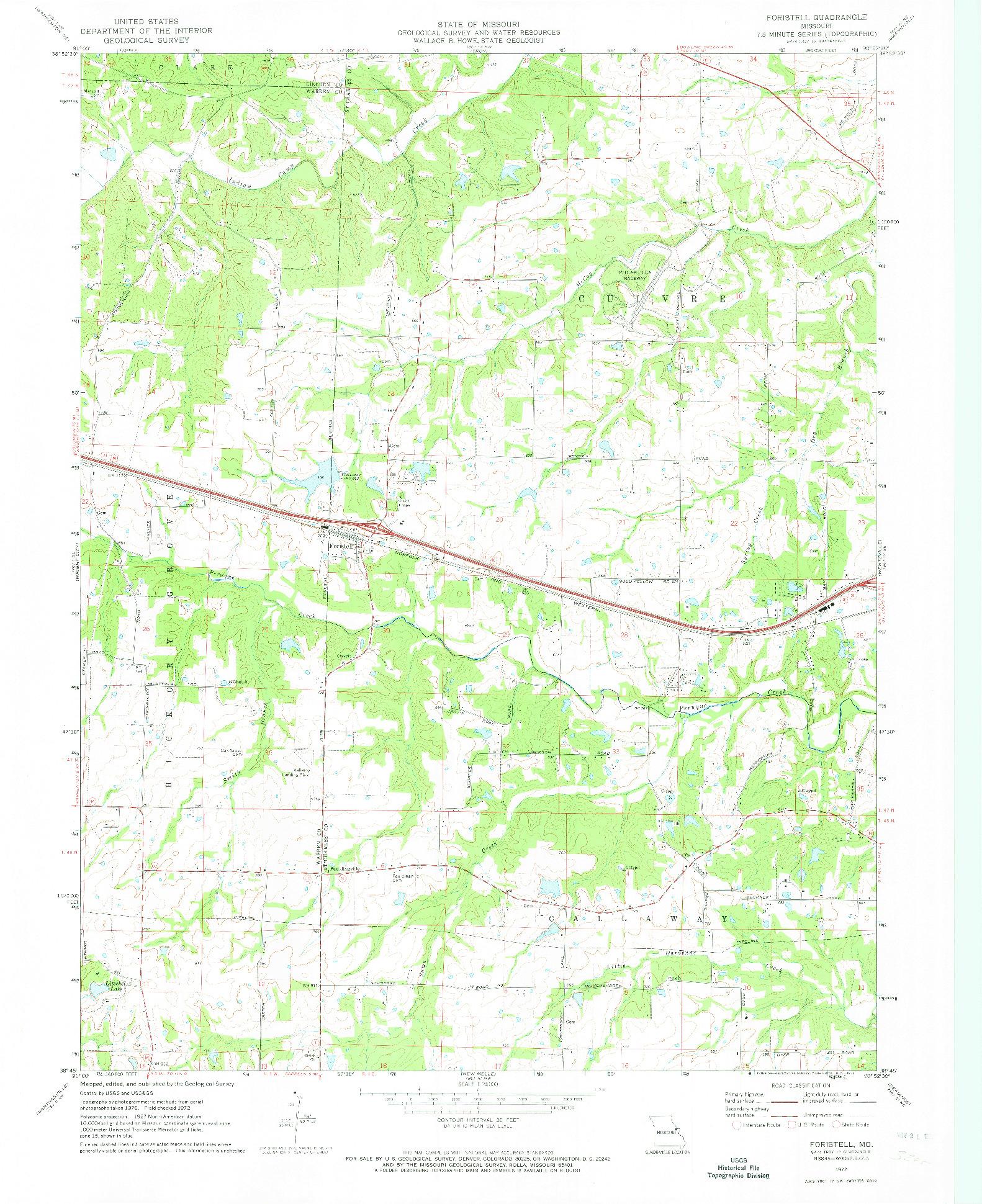 USGS 1:24000-SCALE QUADRANGLE FOR FORISTELL, MO 1972
