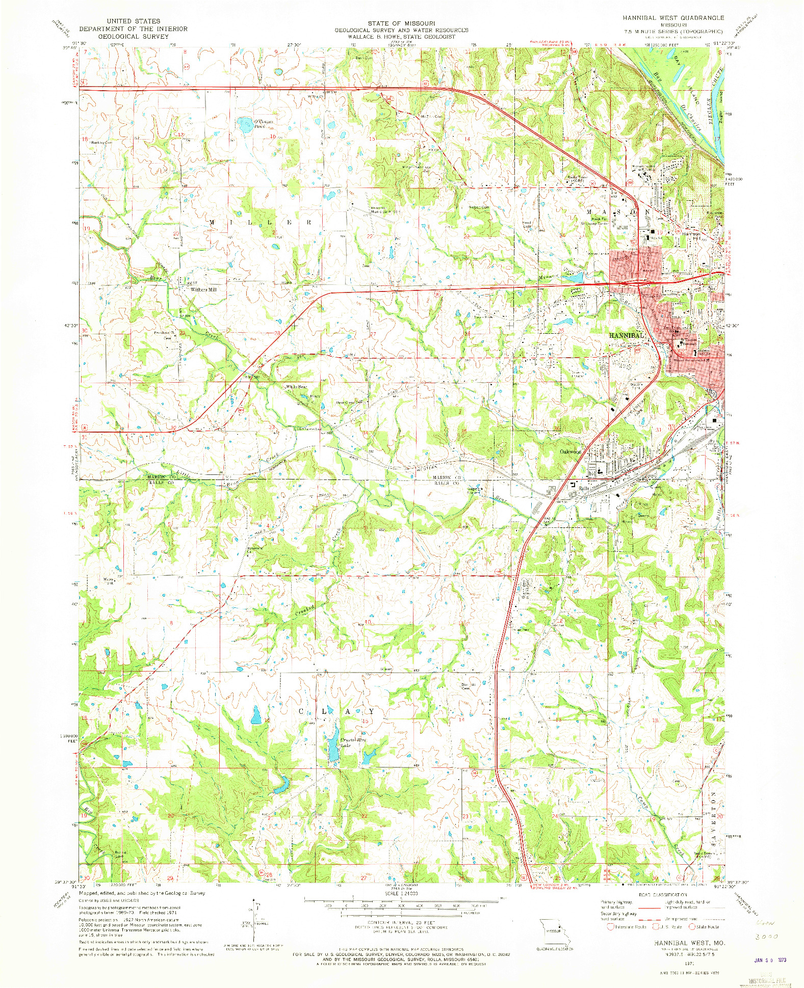USGS 1:24000-SCALE QUADRANGLE FOR HANNIBAL WEST, MO 1971