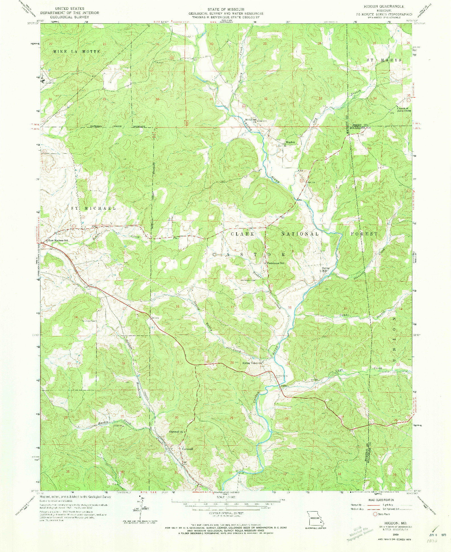 USGS 1:24000-SCALE QUADRANGLE FOR HIGDON, MO 1959