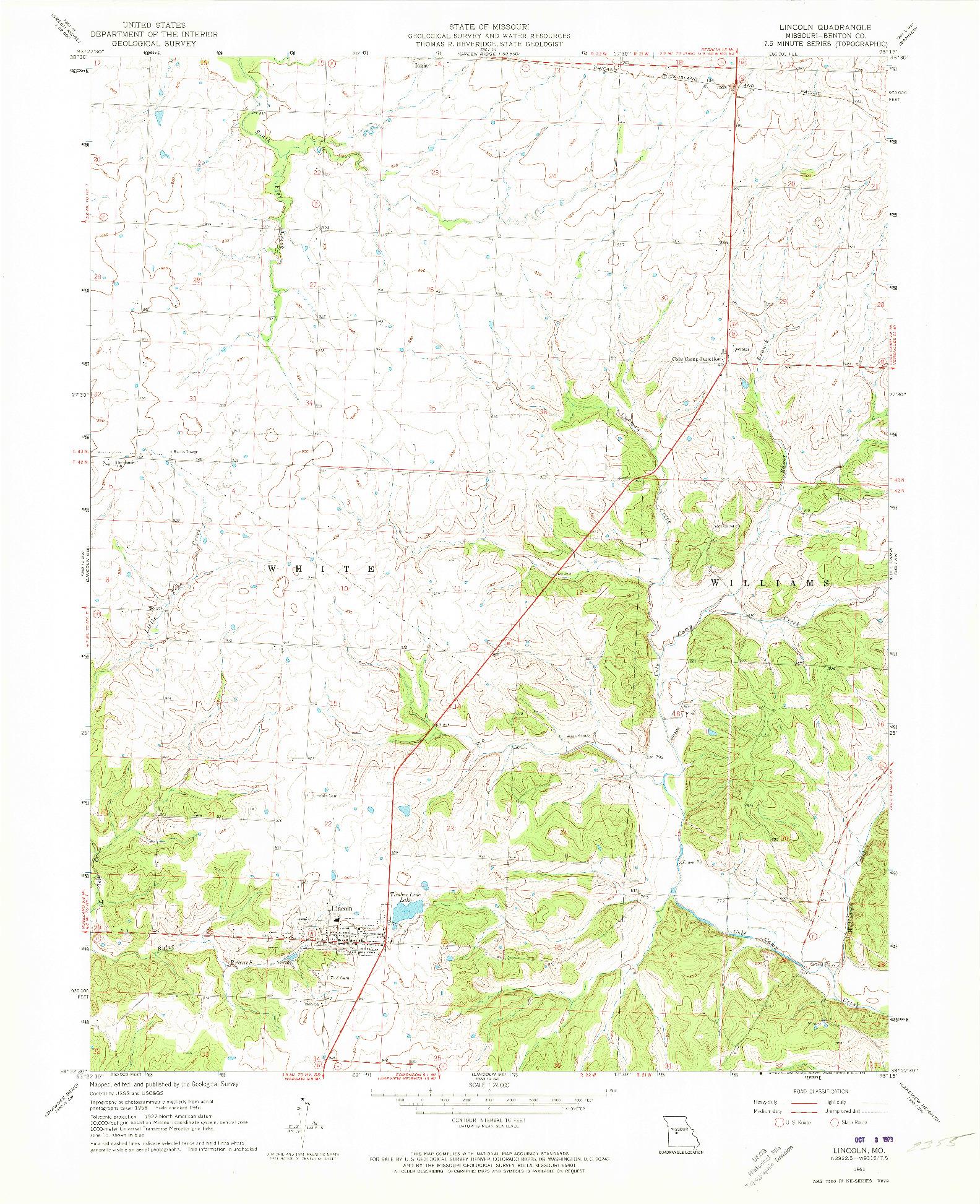 USGS 1:24000-SCALE QUADRANGLE FOR LINCOLN, MO 1961