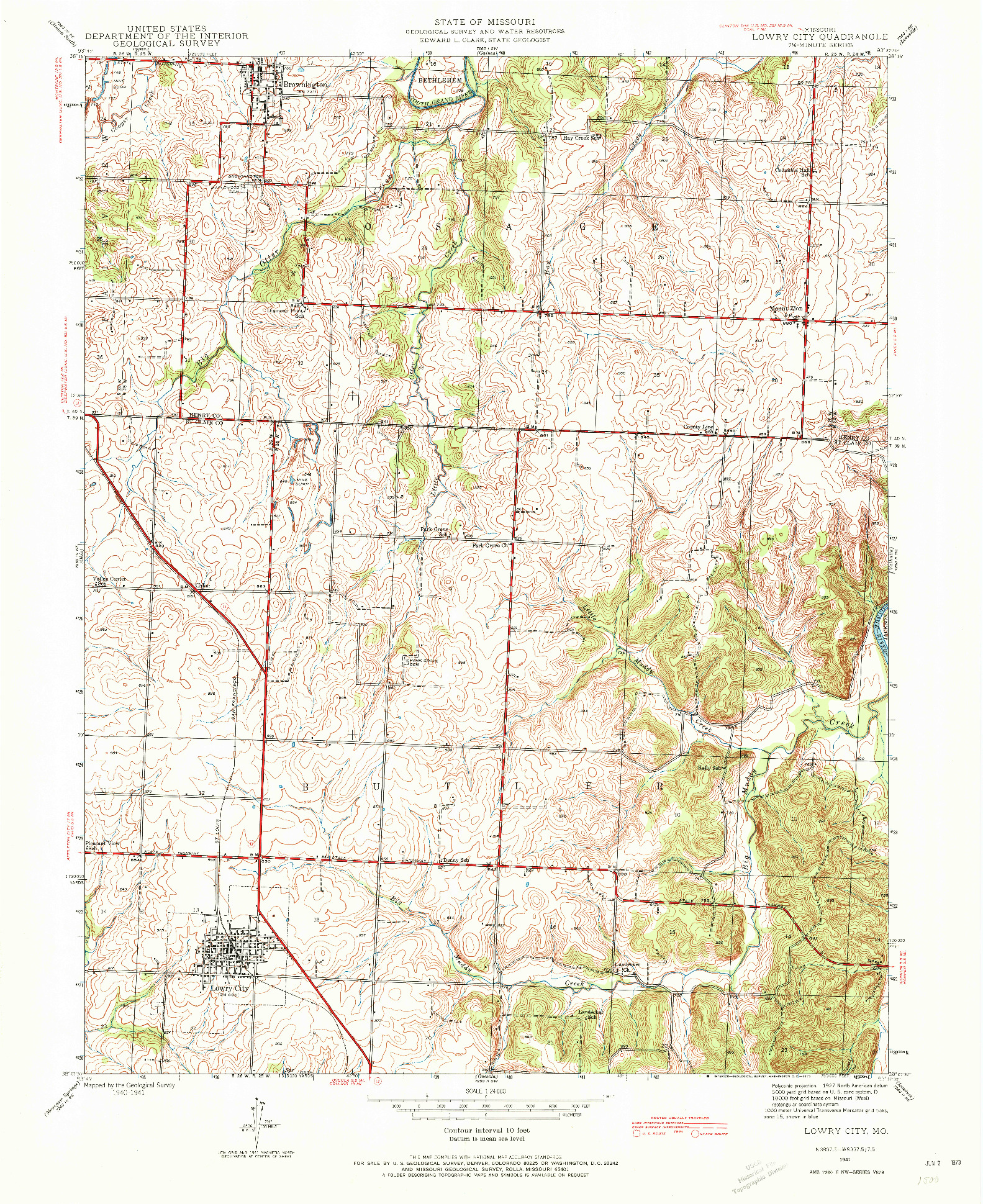 USGS 1:24000-SCALE QUADRANGLE FOR LOWRY CITY, MO 1941