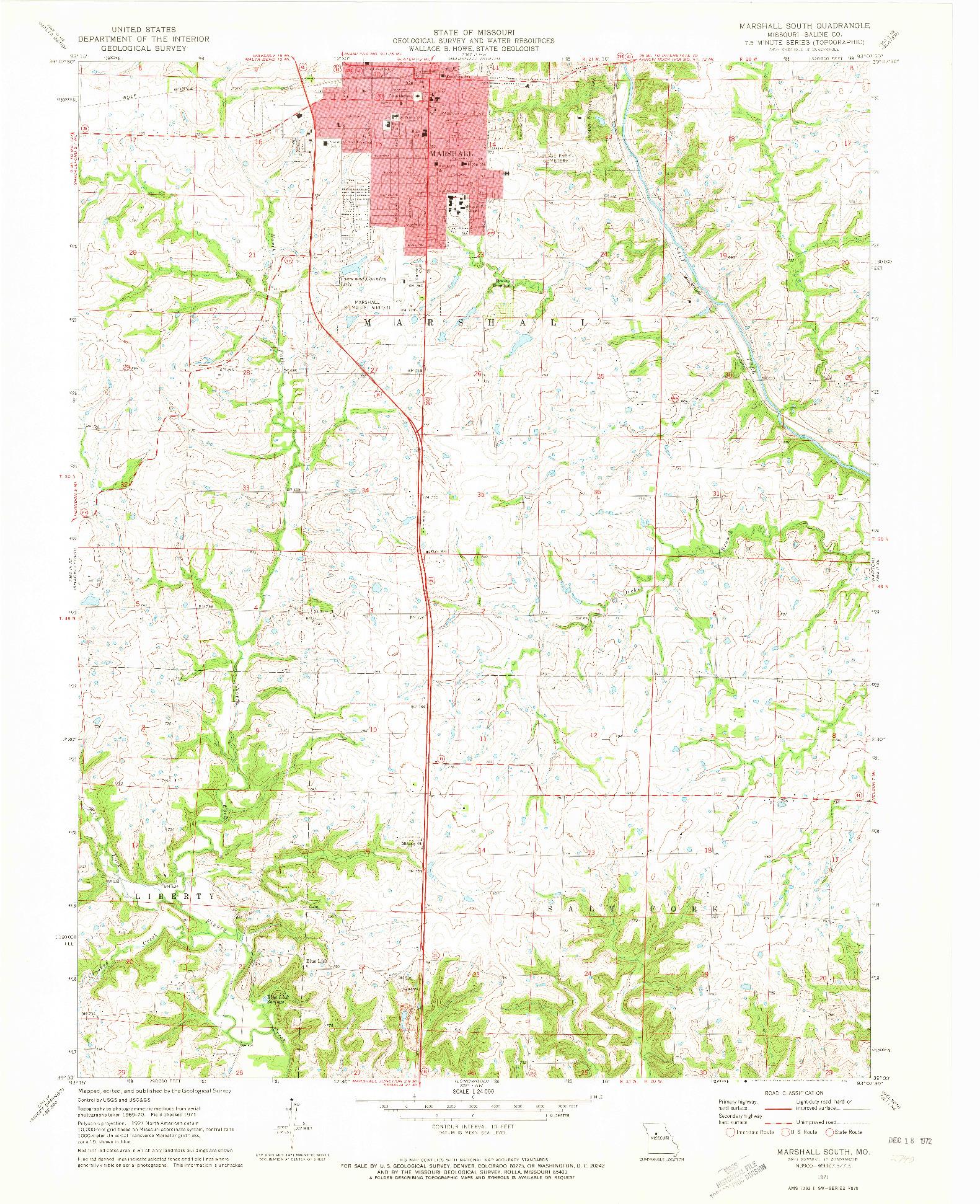 USGS 1:24000-SCALE QUADRANGLE FOR MARSHALL SOUTH, MO 1971
