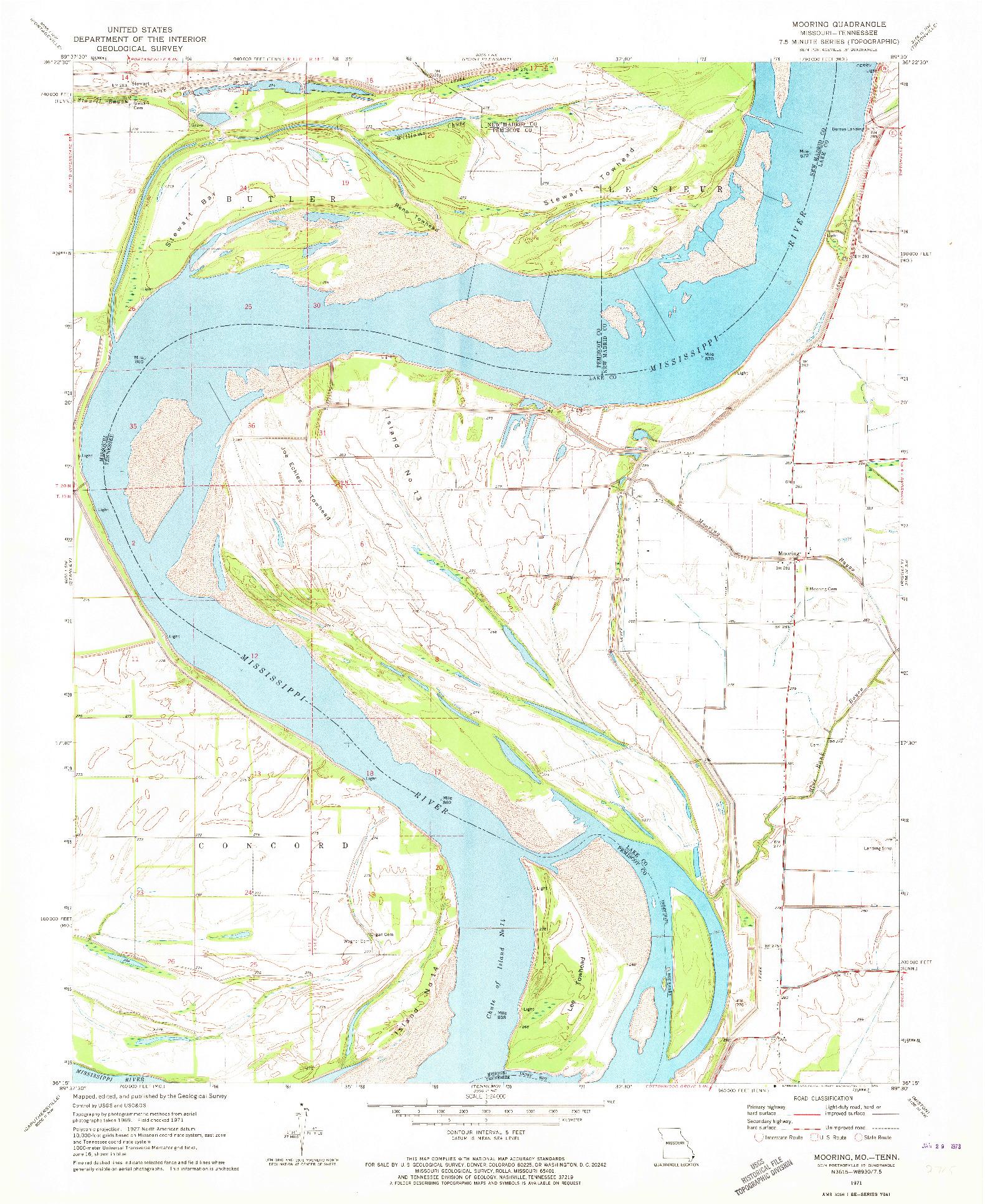 USGS 1:24000-SCALE QUADRANGLE FOR MOORING, MO 1971