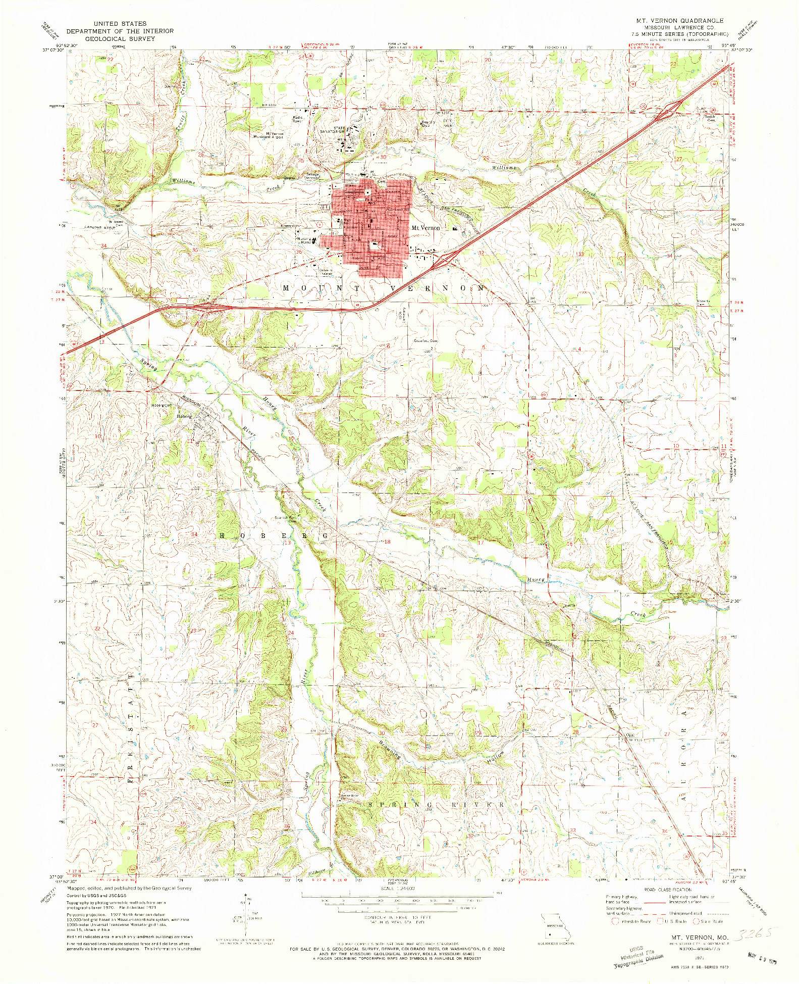 USGS 1:24000-SCALE QUADRANGLE FOR MOUNT VERNON, MO 1971