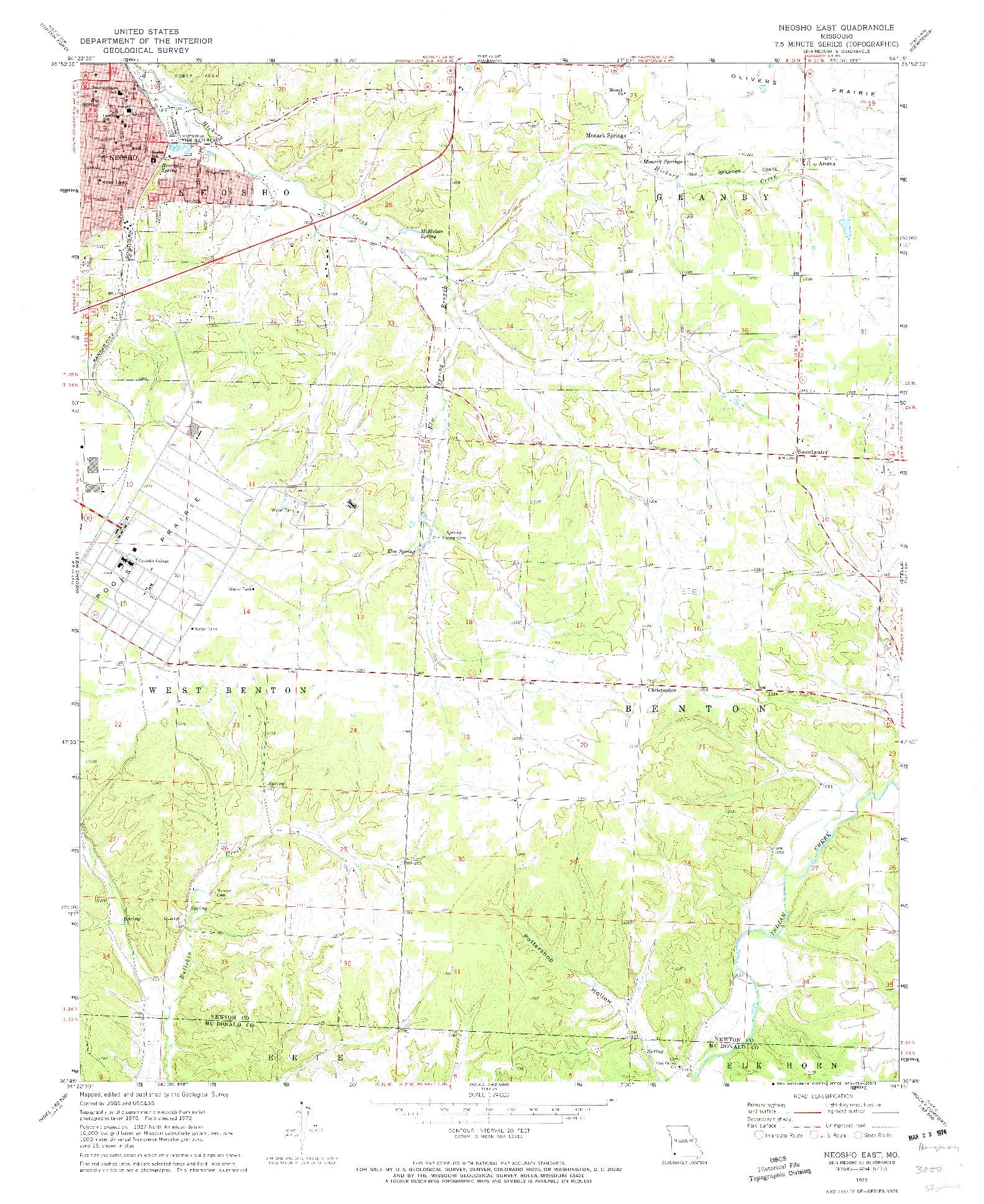 USGS 1:24000-SCALE QUADRANGLE FOR NEOSHO EAST, MO 1972