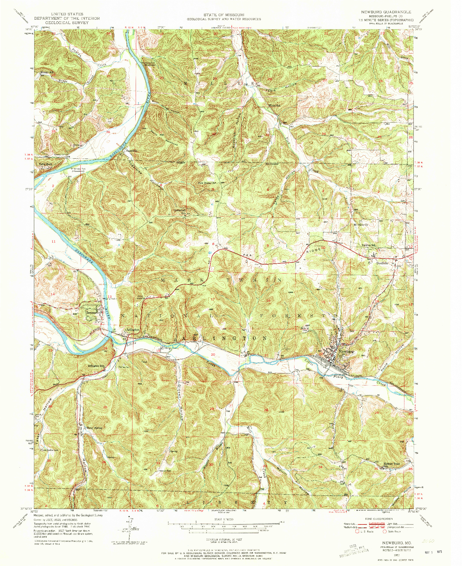 USGS 1:24000-SCALE QUADRANGLE FOR NEWBURG, MO 1950