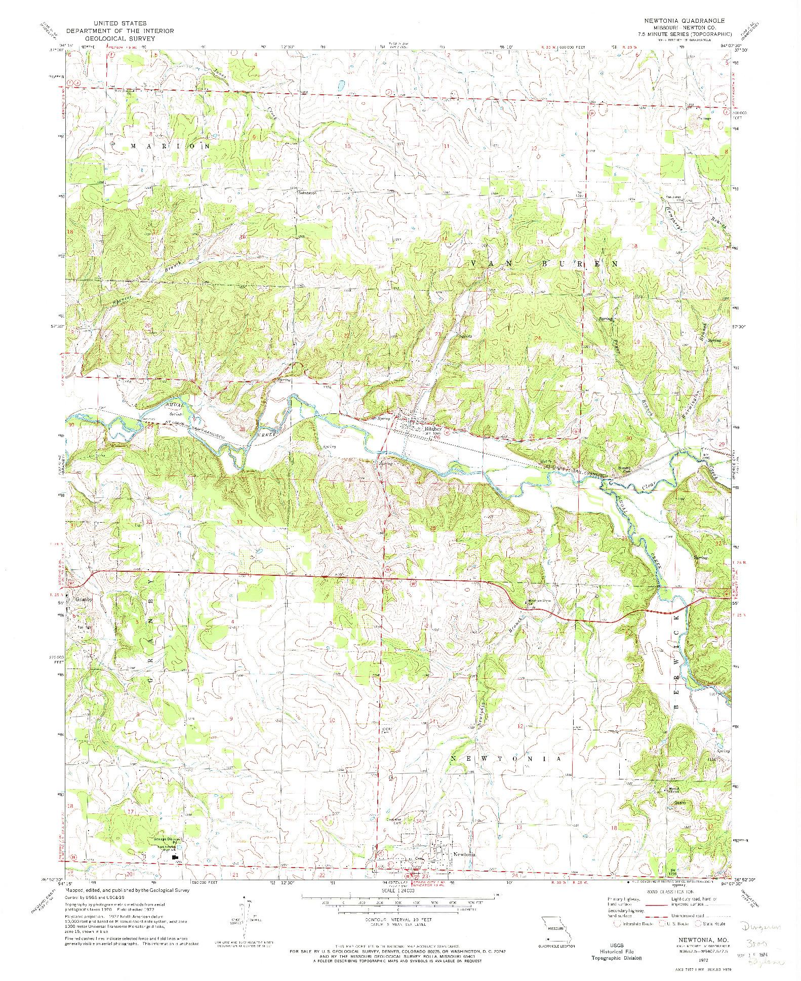 USGS 1:24000-SCALE QUADRANGLE FOR NEWTONIA, MO 1972