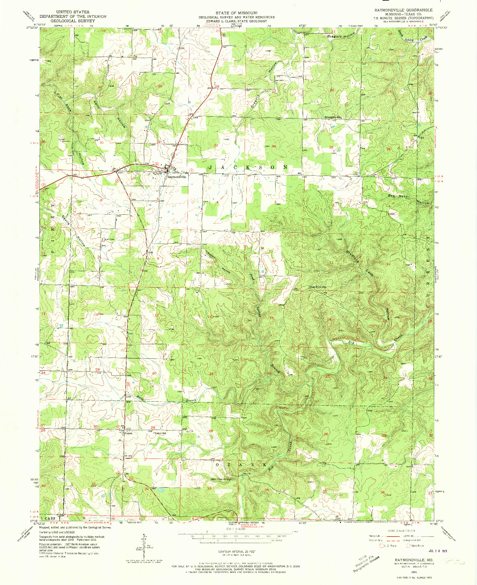 USGS 1:24000-SCALE QUADRANGLE FOR RAYMONDVILLE, MO 1951