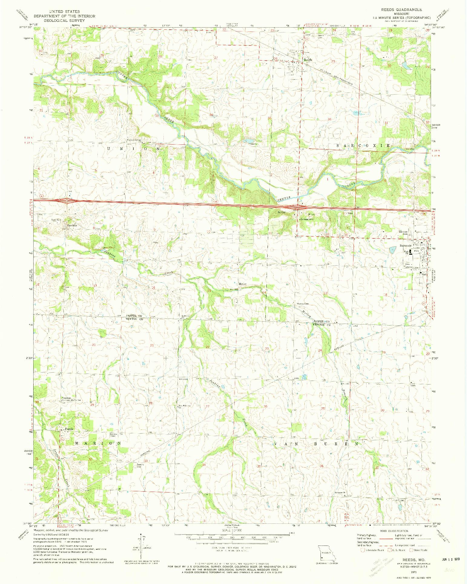 USGS 1:24000-SCALE QUADRANGLE FOR REEDS, MO 1971