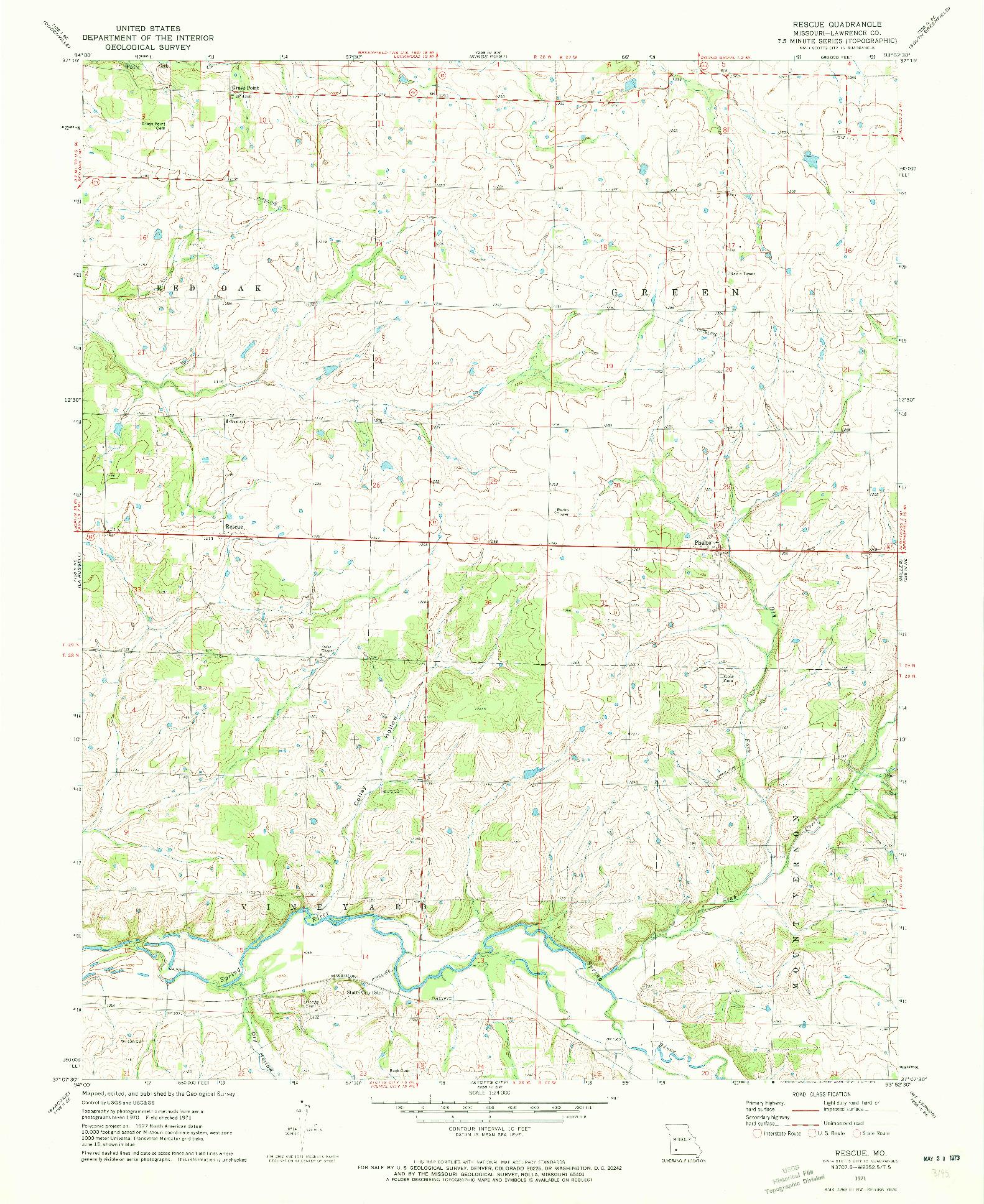 USGS 1:24000-SCALE QUADRANGLE FOR RESCUE, MO 1971