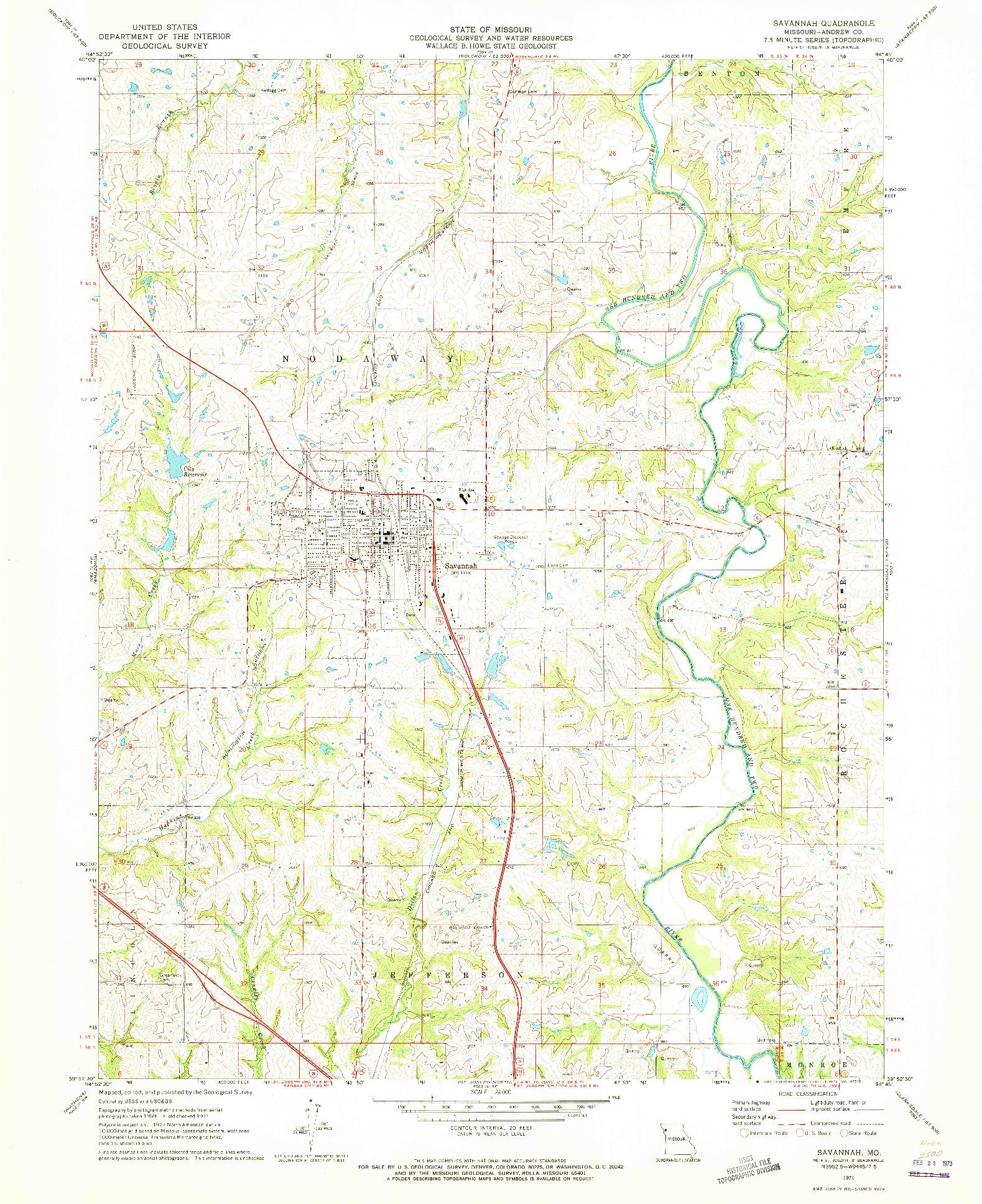 USGS 1:24000-SCALE QUADRANGLE FOR SAVANNAH, MO 1971