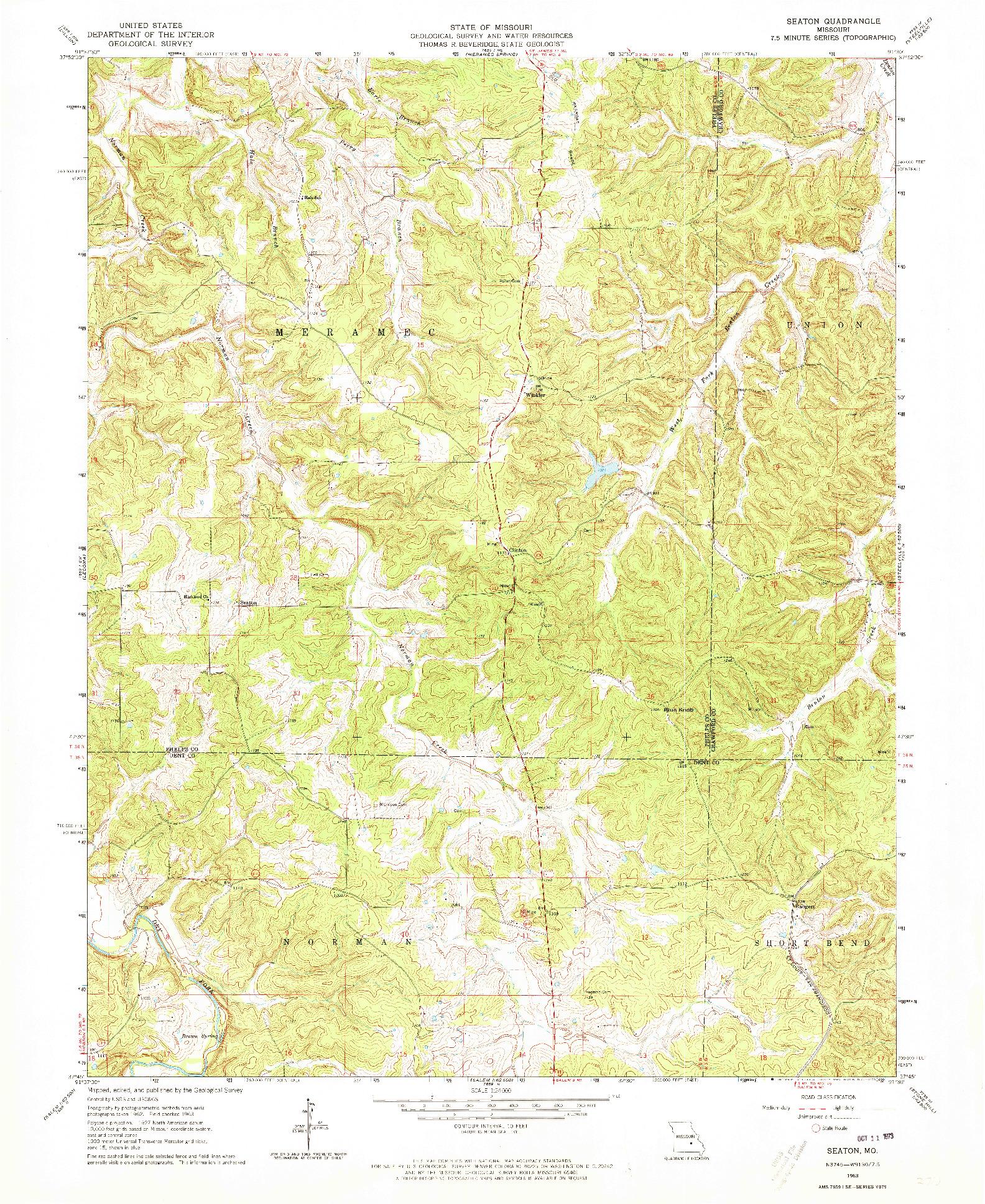 USGS 1:24000-SCALE QUADRANGLE FOR SEATON, MO 1963