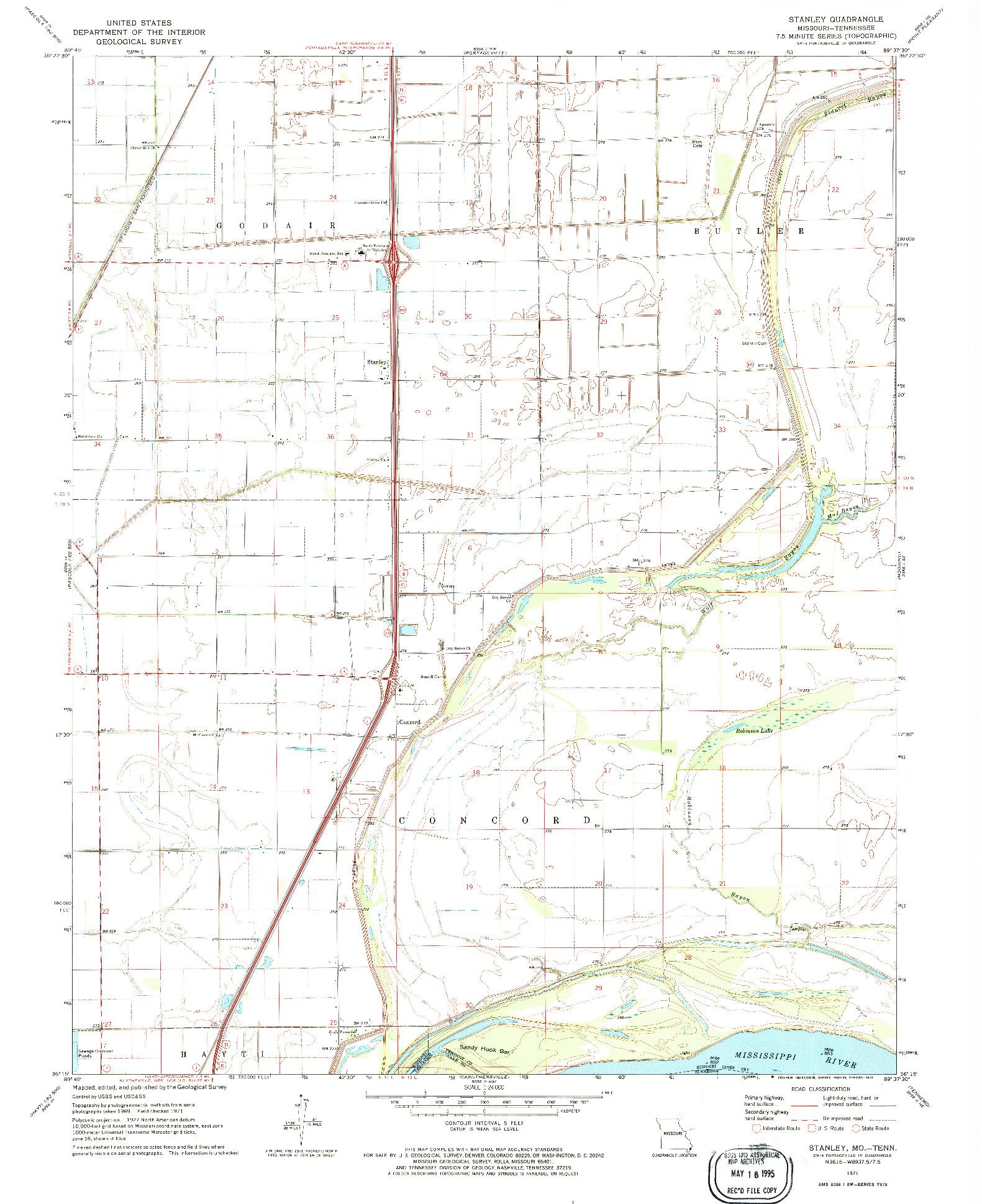 USGS 1:24000-SCALE QUADRANGLE FOR STANLEY, MO 1971