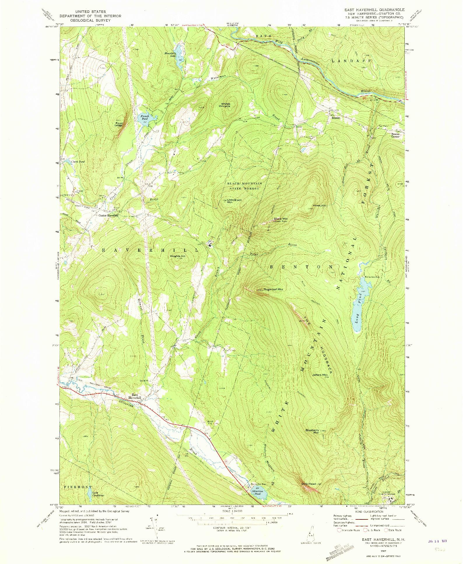 USGS 1:24000-SCALE QUADRANGLE FOR EAST HAVERHILL, NH 1967