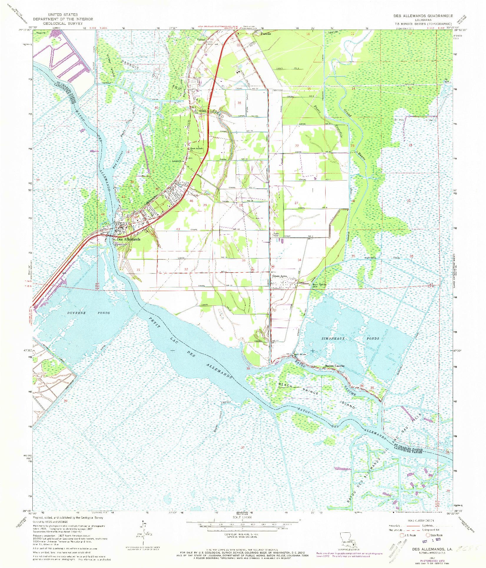 USGS 1:24000-SCALE QUADRANGLE FOR DES ALLEMANDS, LA 1967
