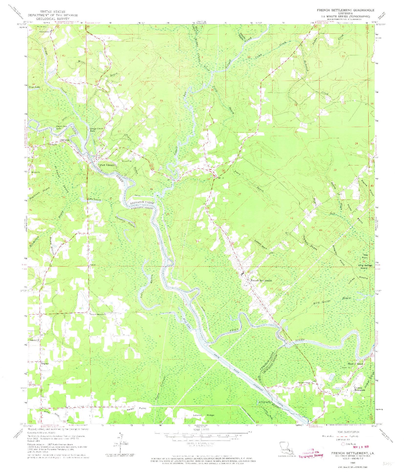 USGS 1:24000-SCALE QUADRANGLE FOR FRENCH SETTLEMENT, LA 1963