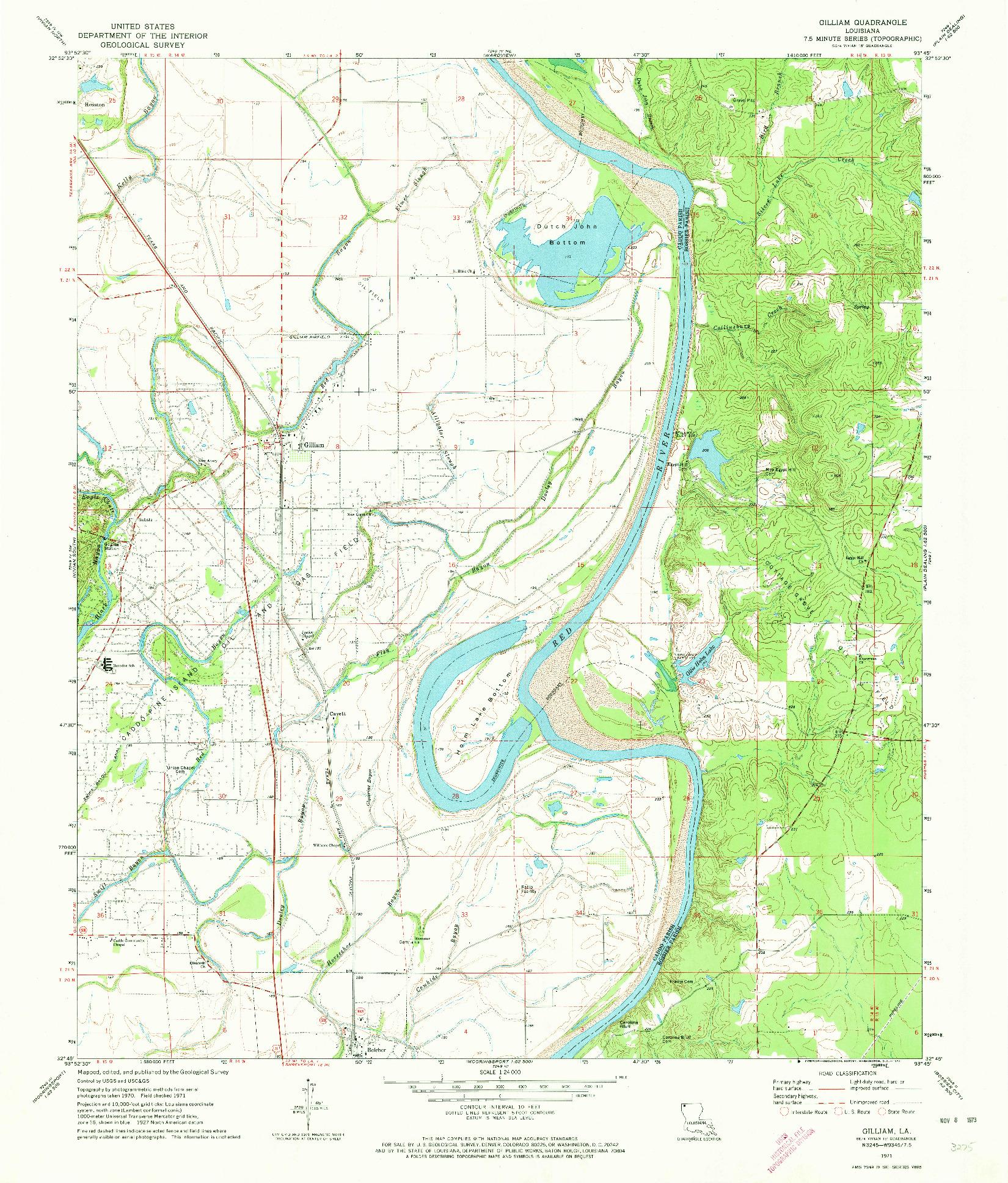 USGS 1:24000-SCALE QUADRANGLE FOR GILLIAM, LA 1971