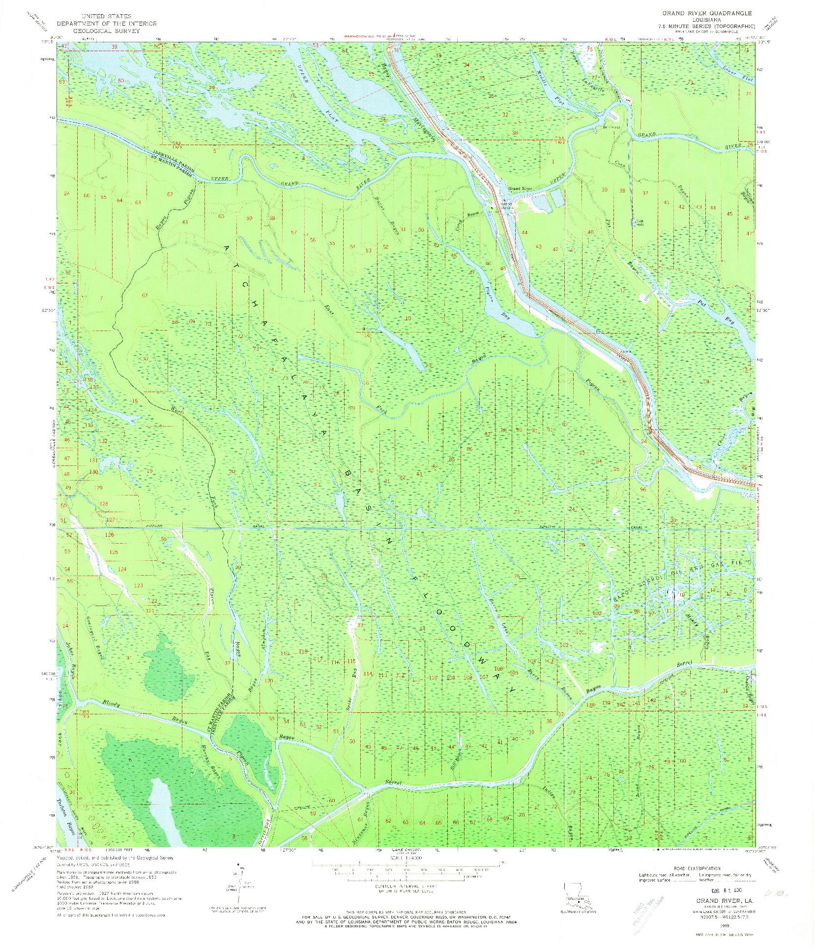 USGS 1:24000-SCALE QUADRANGLE FOR GRAND RIVER, LA 1969