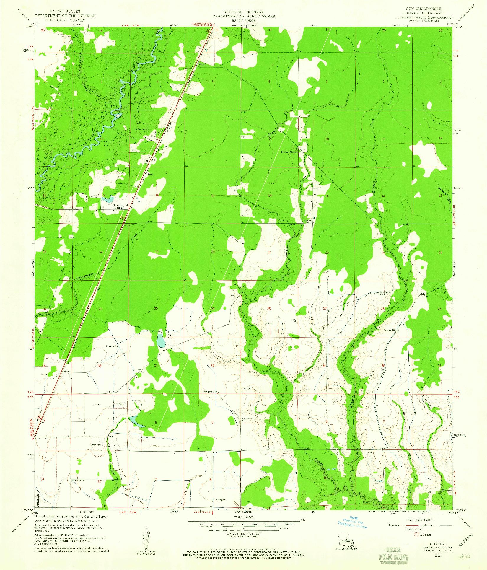 USGS 1:24000-SCALE QUADRANGLE FOR GUY, LA 1960