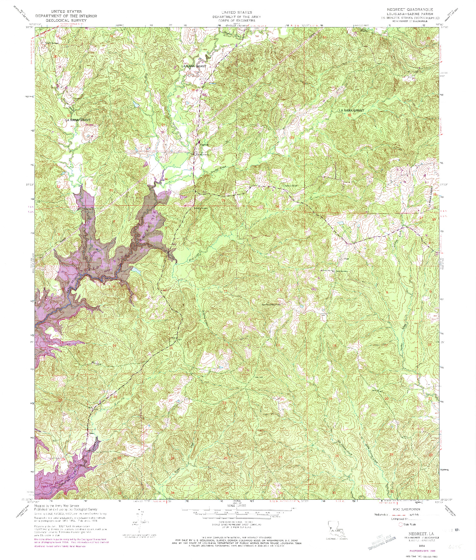 USGS 1:24000-SCALE QUADRANGLE FOR NEGREET, LA 1954