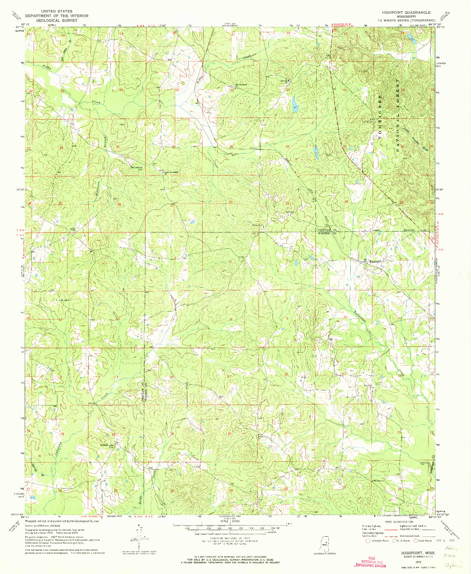 USGS 1:24000-SCALE QUADRANGLE FOR HIGHPOINT, MS 1972