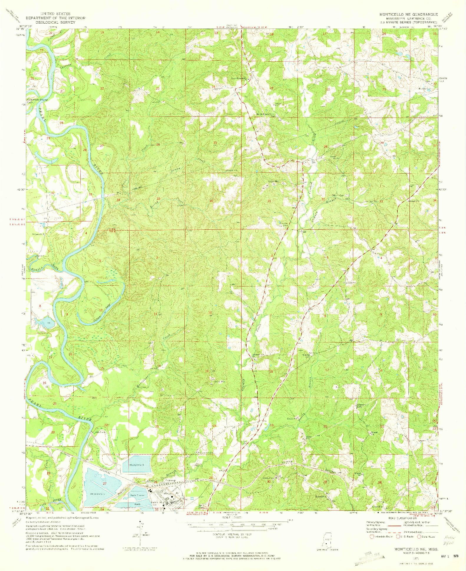 USGS 1:24000-SCALE QUADRANGLE FOR MONTICELLO NE, MS 1971