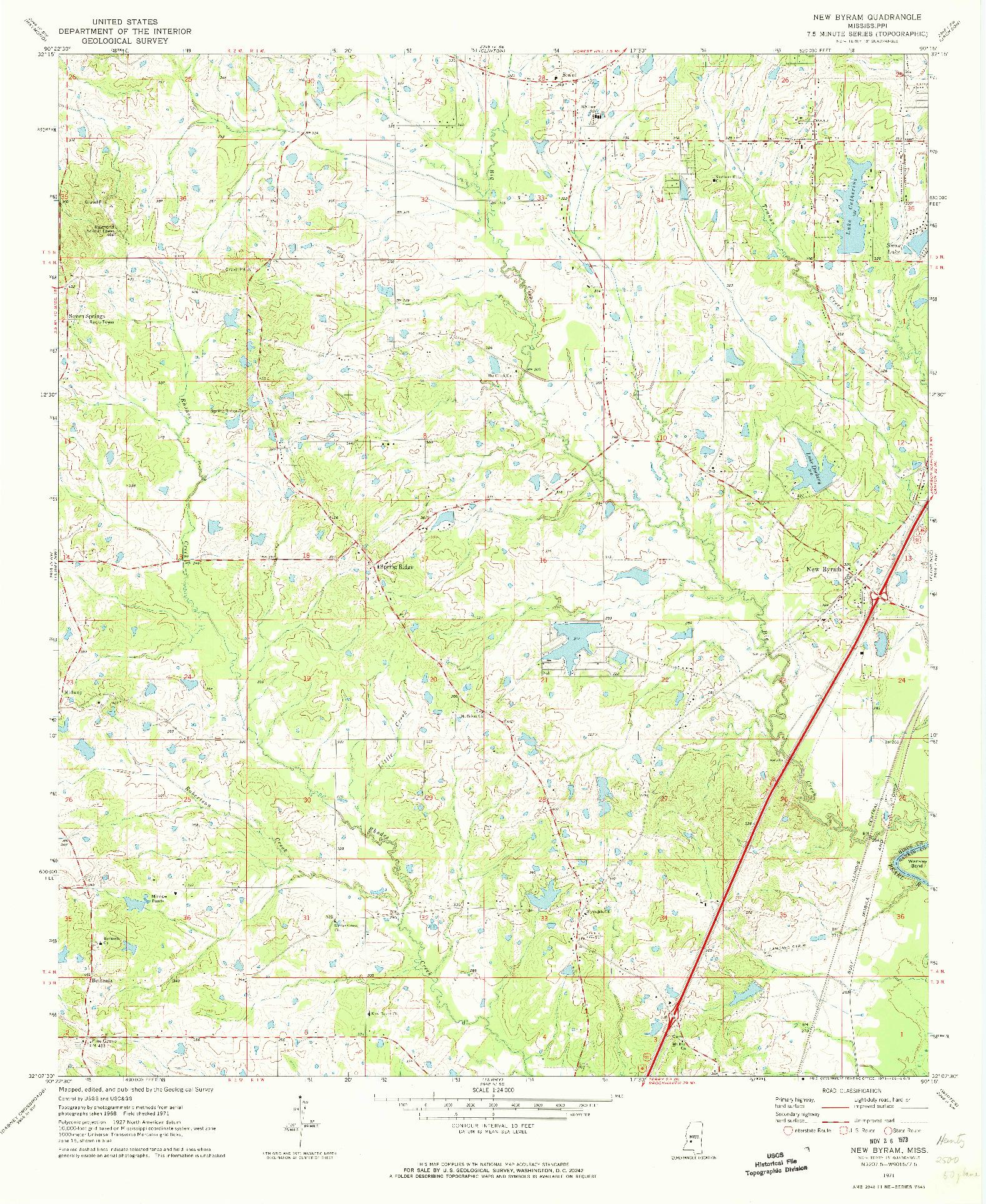 USGS 1:24000-SCALE QUADRANGLE FOR NEW BYRAM, MS 1971