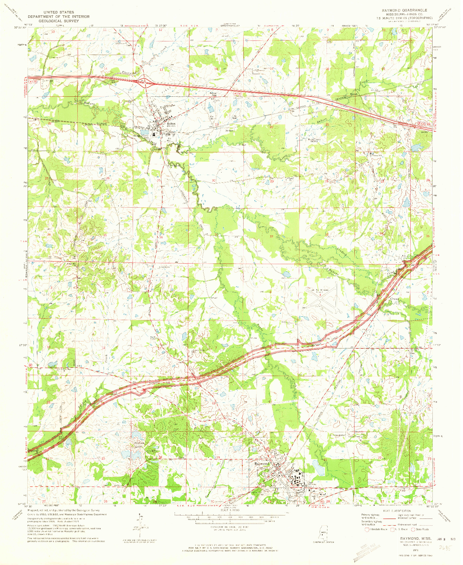 USGS 1:24000-SCALE QUADRANGLE FOR RAYMOND, MS 1971