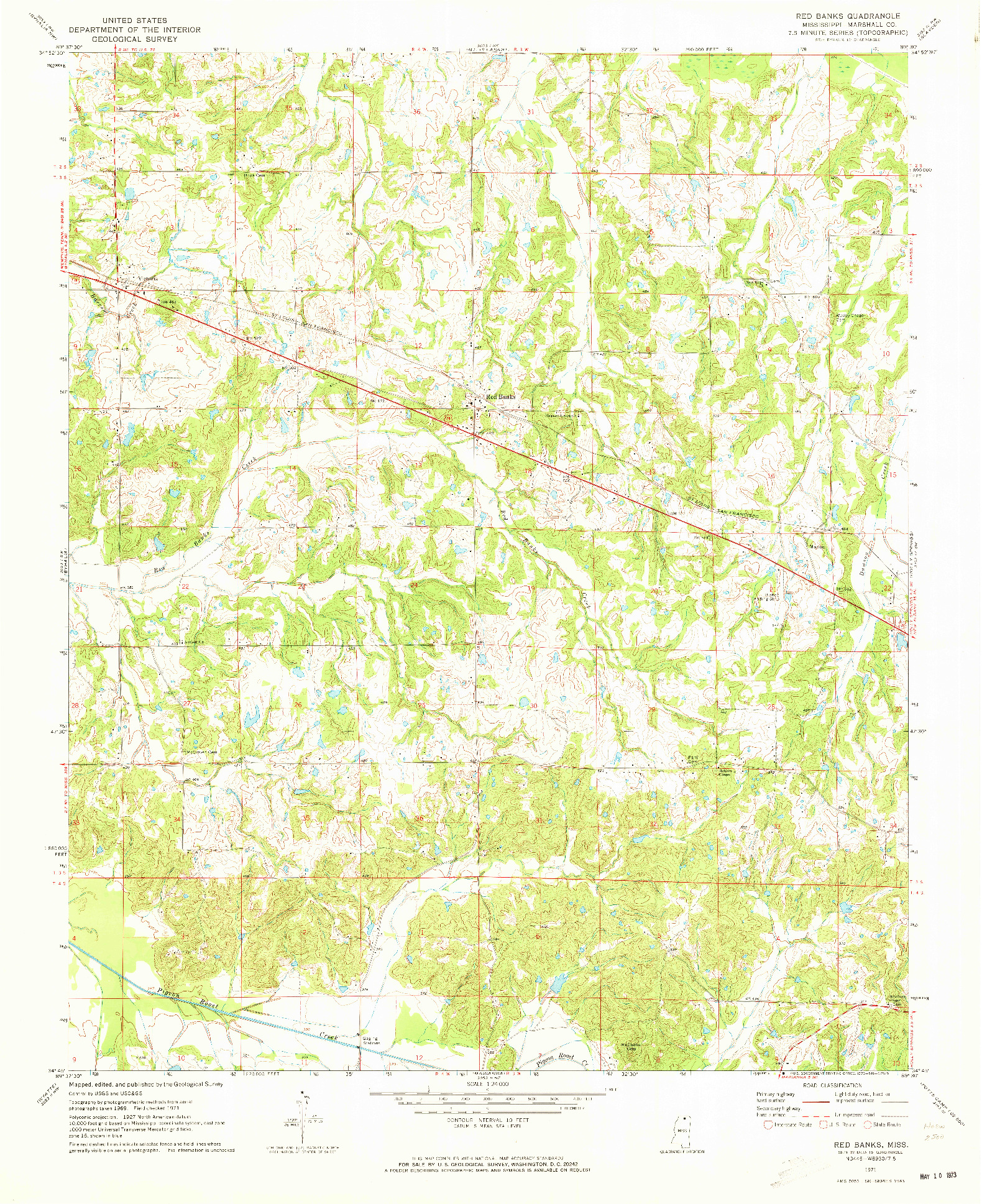 USGS 1:24000-SCALE QUADRANGLE FOR RED BANKS, MS 1971