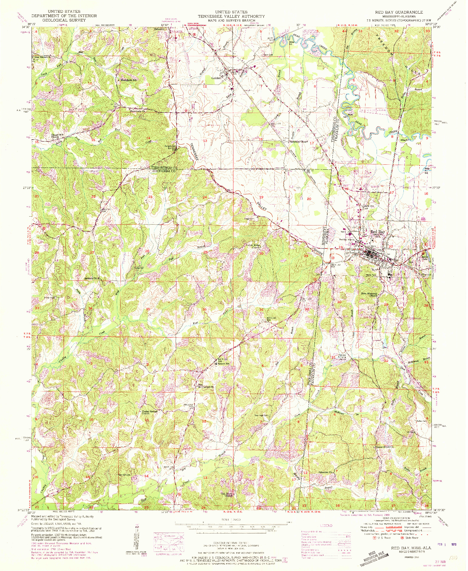 USGS 1:24000-SCALE QUADRANGLE FOR RED BAY, MS 1951
