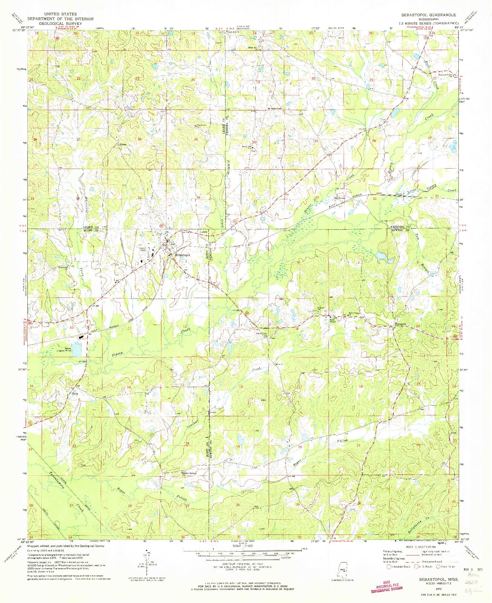 USGS 1:24000-SCALE QUADRANGLE FOR SEBASTOPOL, MS 1972