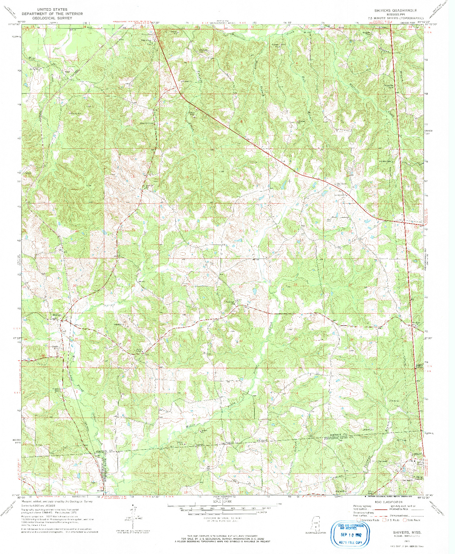 USGS 1:24000-SCALE QUADRANGLE FOR SHIVERS, MS 1971