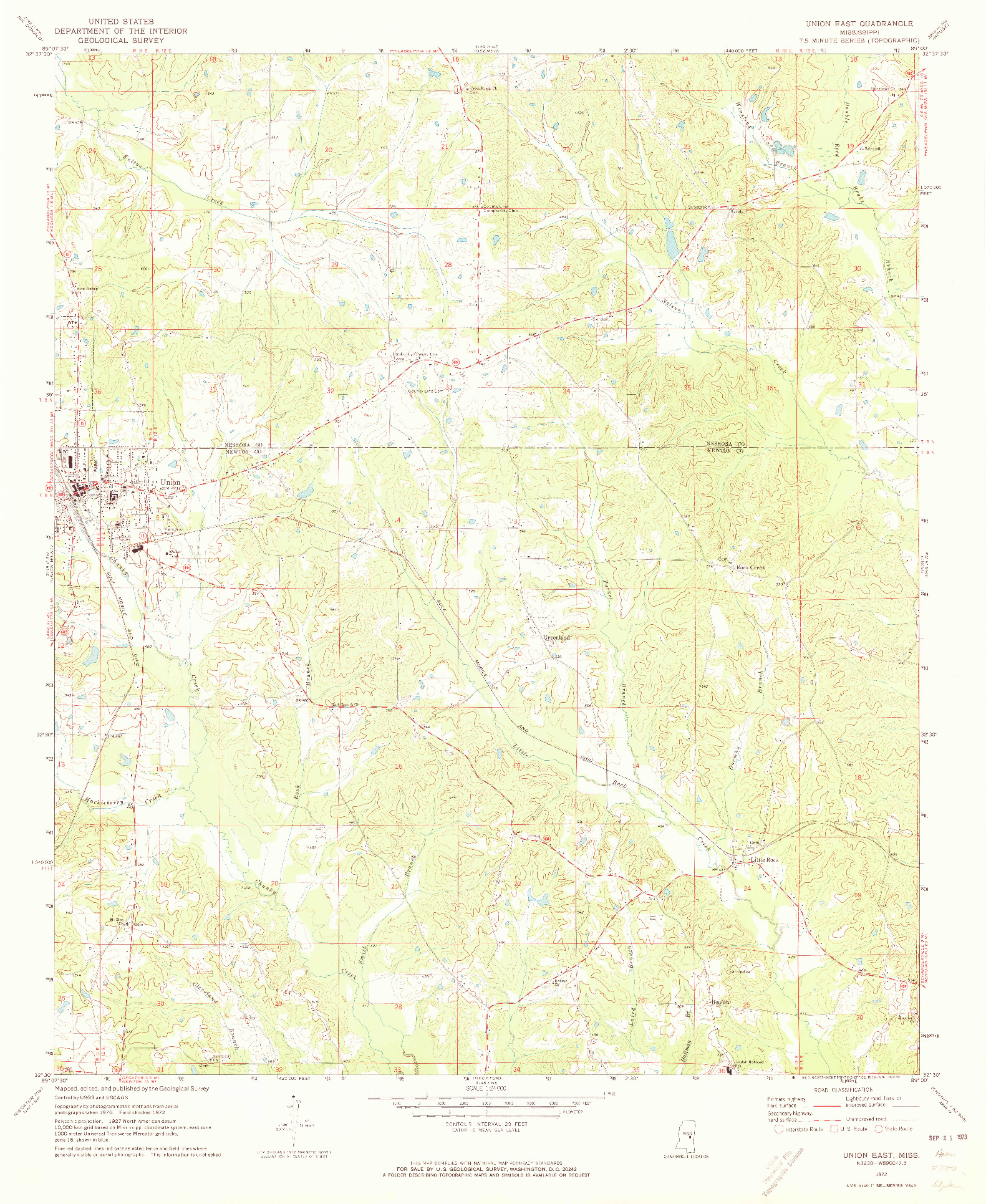 USGS 1:24000-SCALE QUADRANGLE FOR UNION EAST, MS 1972