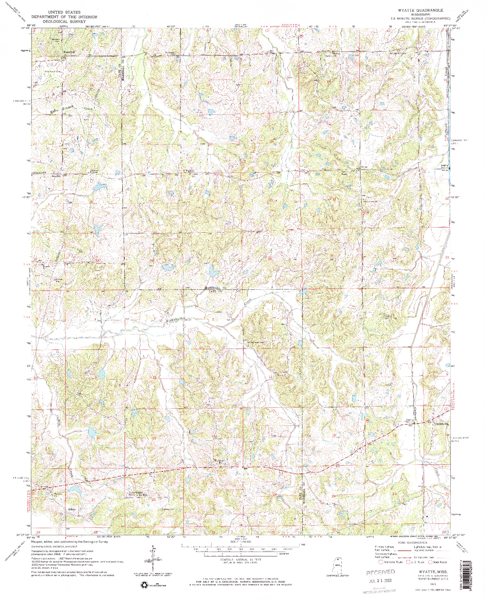 USGS 1:24000-SCALE QUADRANGLE FOR WYATTE, MS 1971