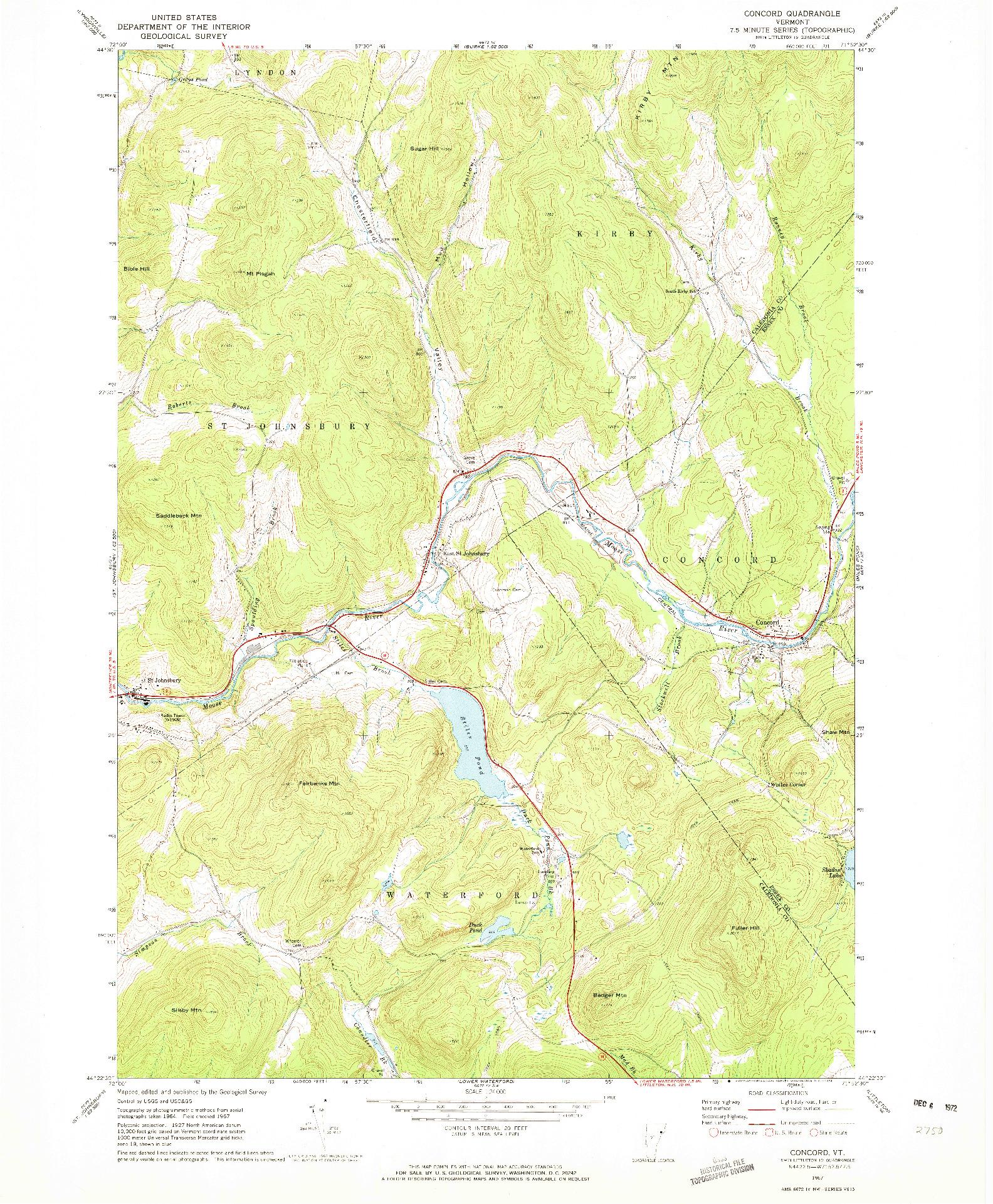 USGS 1:24000-SCALE QUADRANGLE FOR CONCORD, VT 1967