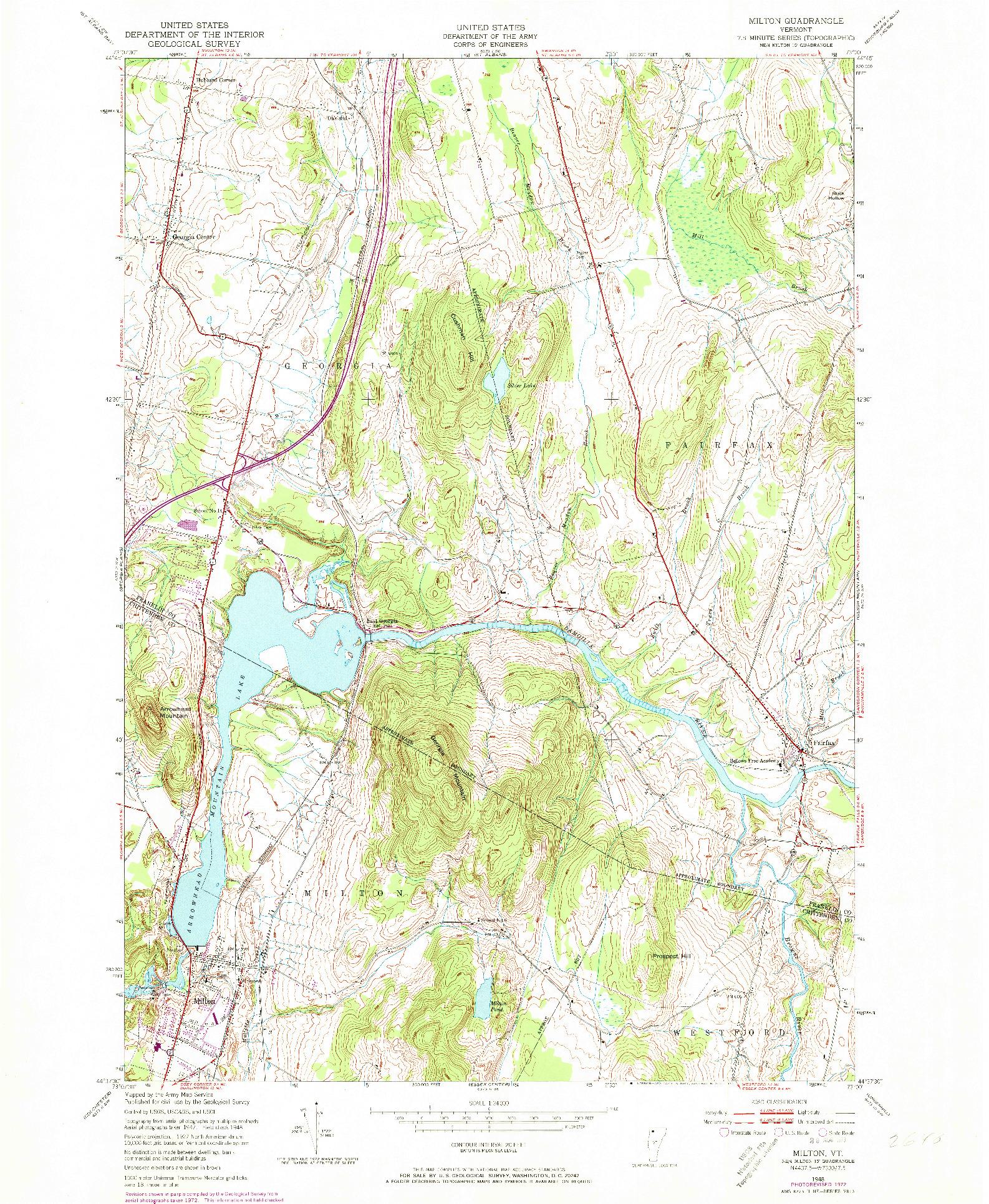 USGS 1:24000-SCALE QUADRANGLE FOR MILTON, VT 1948